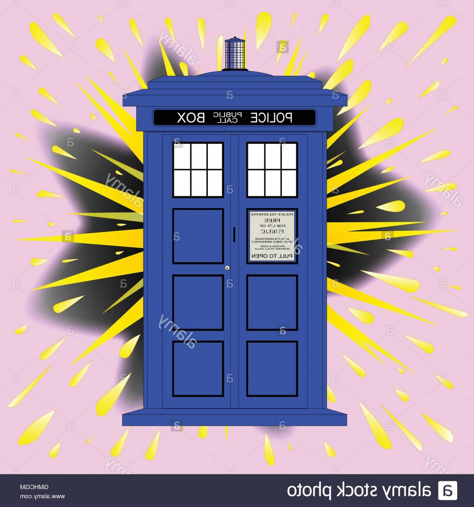 Vector Police Box: Stock Photo British Police Box With Abstract Explosion
