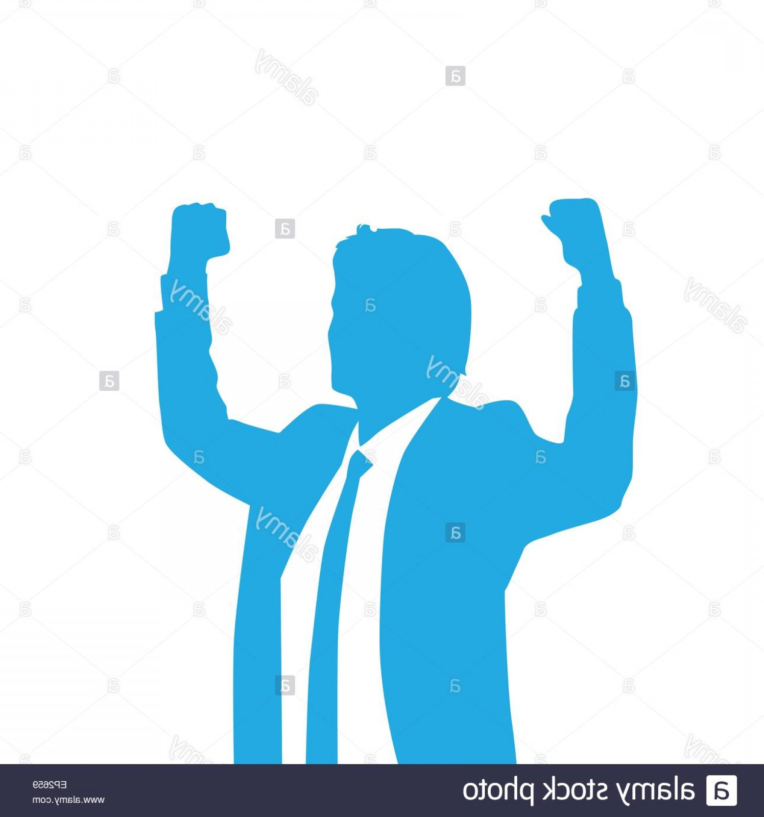 Holding Hands Up Silhouette Vector: Stock Photo Business Man Silhouette Excited Hold Hands Up