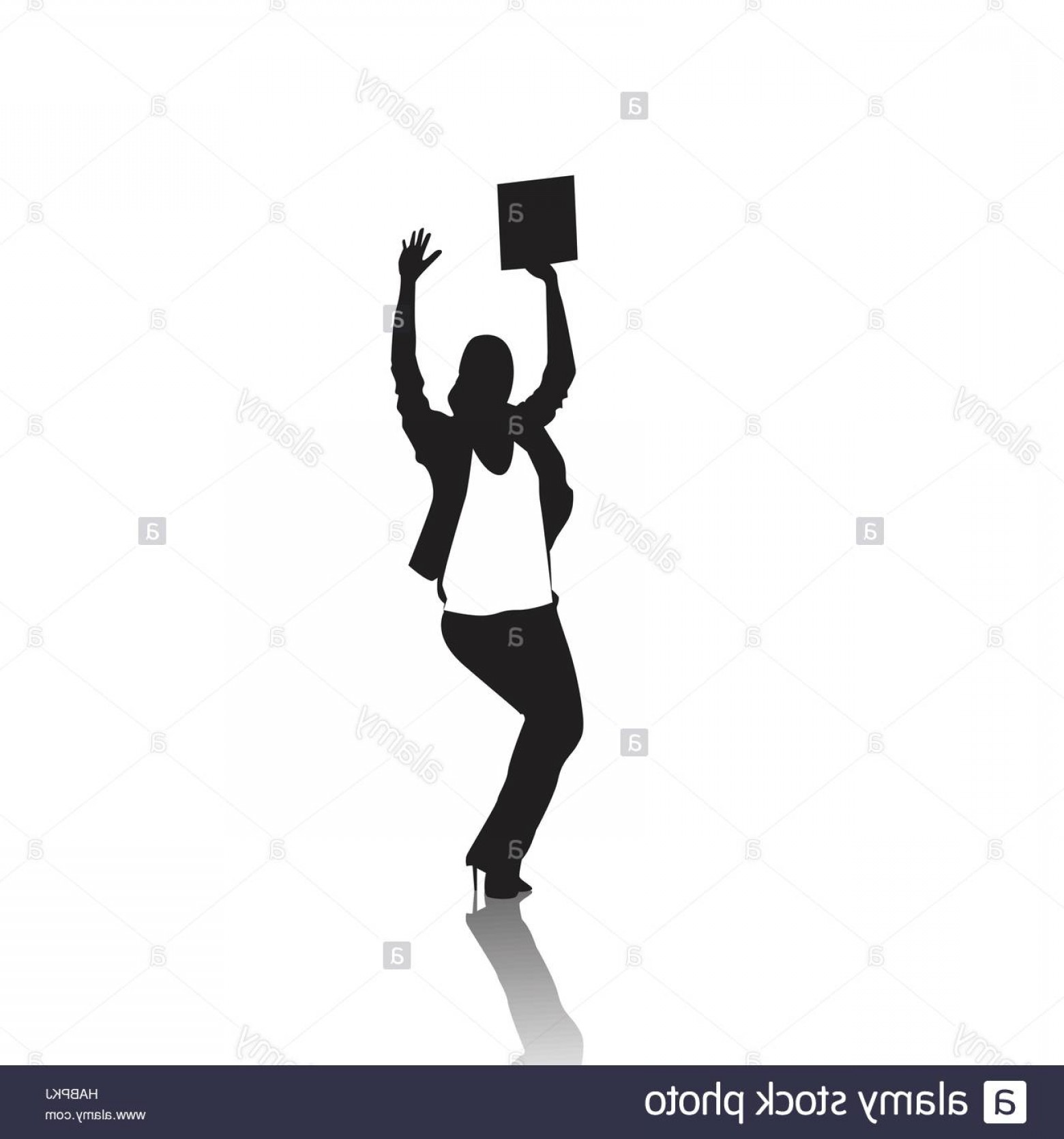 Holding Hands Up Silhouette Vector: Stock Photo Business Woman Silhouette Excited Hold Hands Up Raised Arms Businesswoman