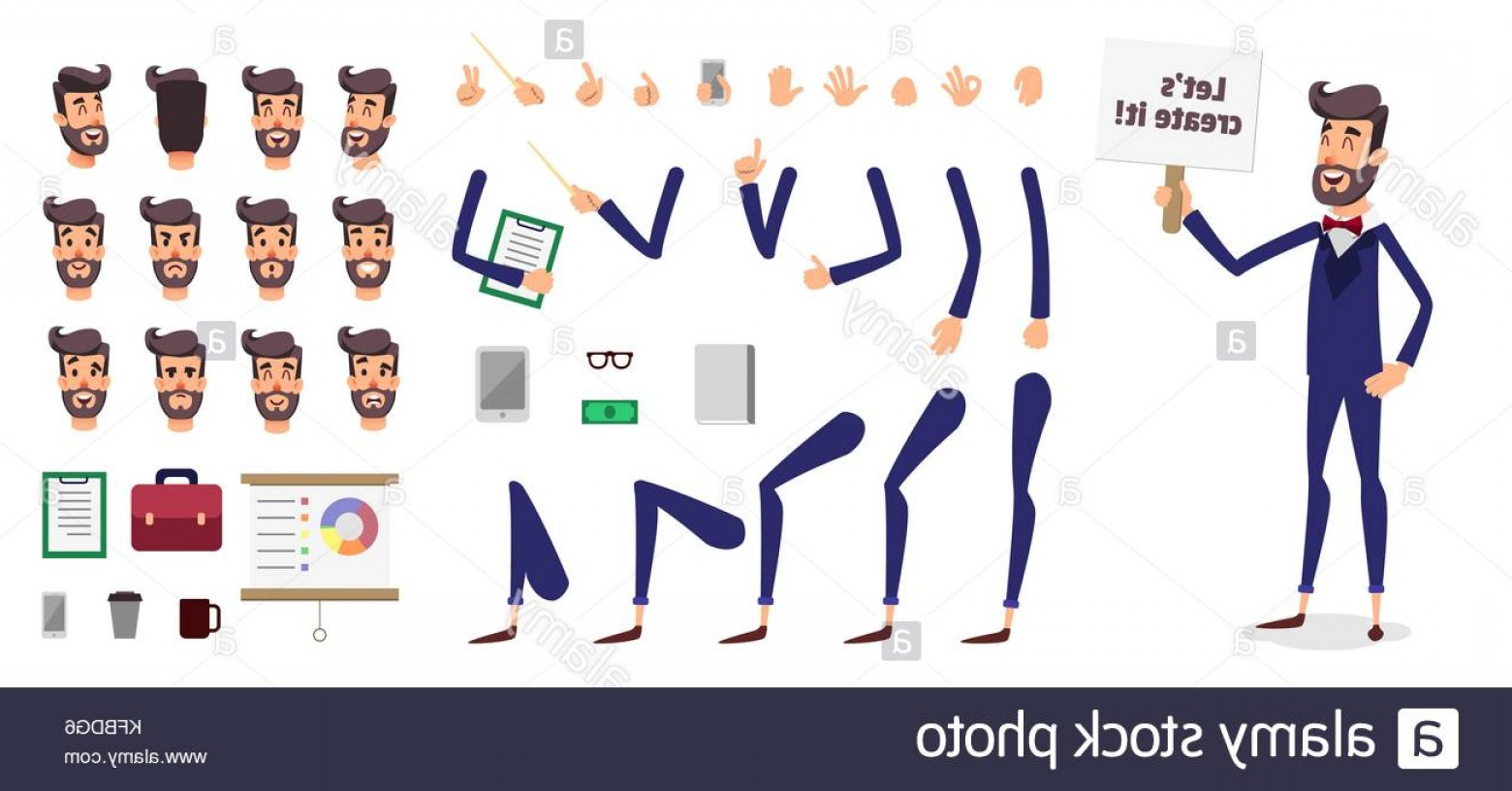 Vector Constructor: Stock Photo Businessman Constructor Or Male Cartoon Vector Person Character Creation