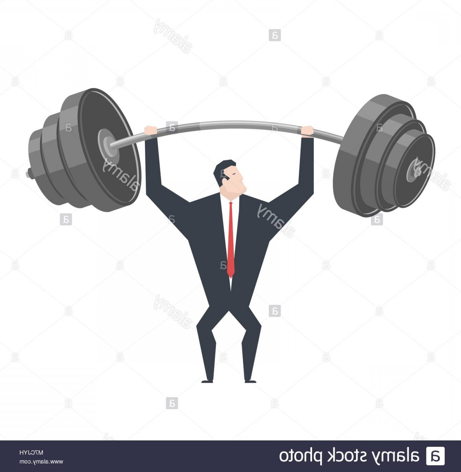 Weightlifter Vector Art: Stock Photo Businessman Lifts Weights Boss Is Weightlifter Office Life Vector
