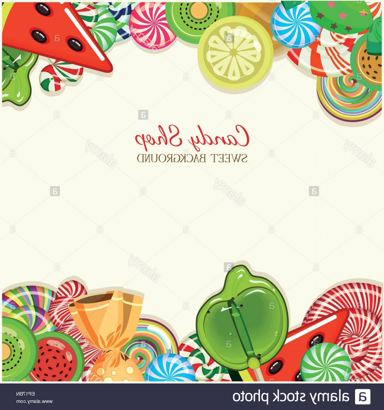 Candy Shop Vector: Stock Photo Candy Shop Frame Vector Illustration Background With Sweets In Vintage