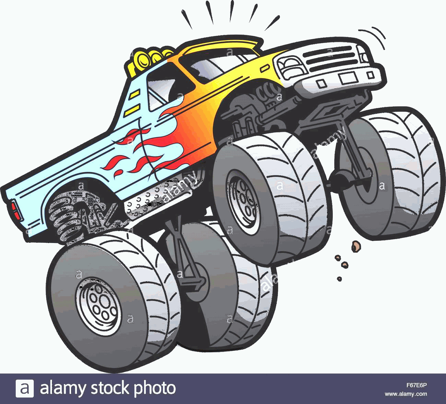 Monster Truck Tires Vector: Stock Photo Cartoon Illustration Of A Cool Monster Truck Jumping Or Doing A Wheelie
