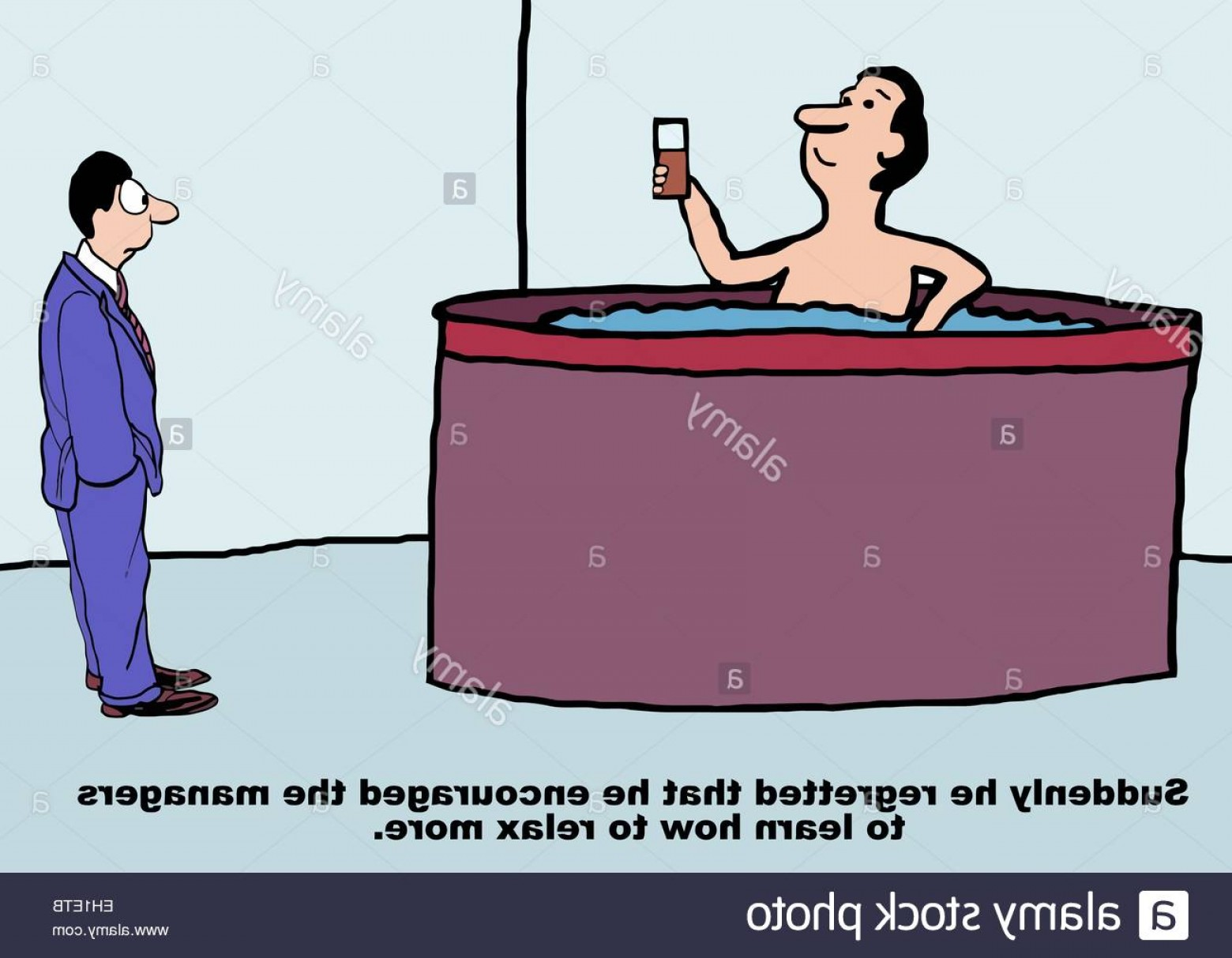 Vector Relaxing Hot Tub: Stock Photo Cartoon Of Business Manager In Hot Tub Business Boss Thinks Suddenly