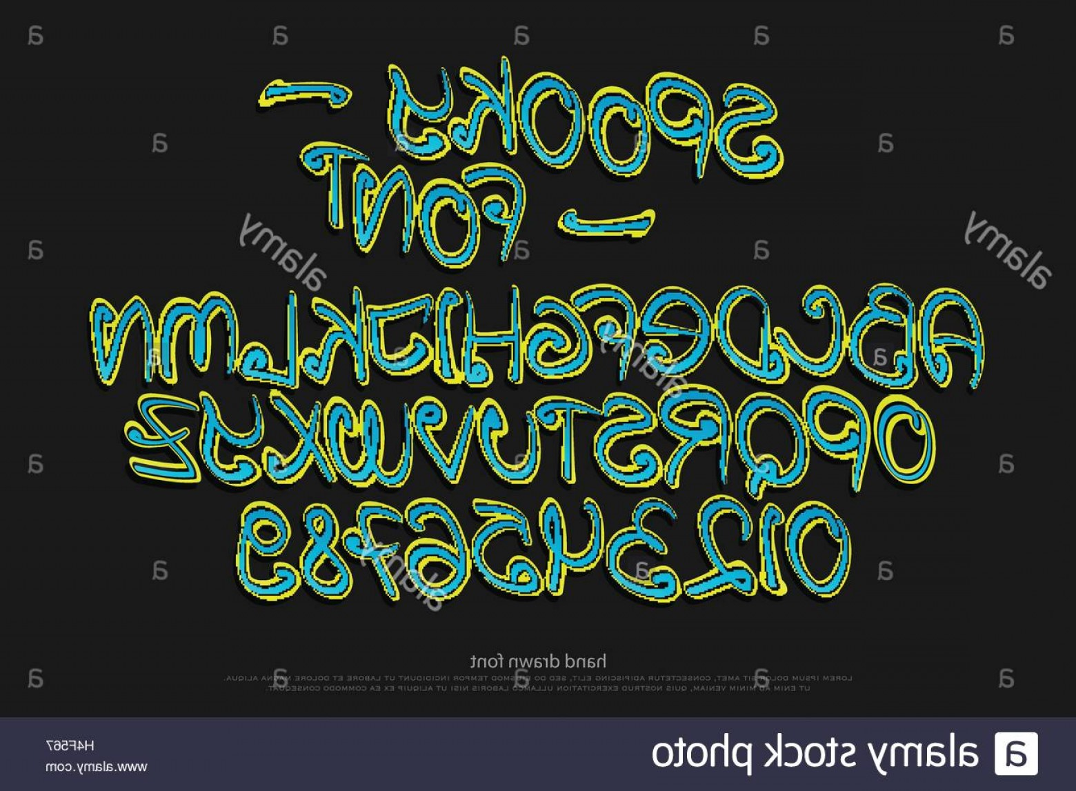 Alphabet Letters Vector Art: Stock Photo Cartoon Style Alphabet Letters And Numbers Isolated On Black Background