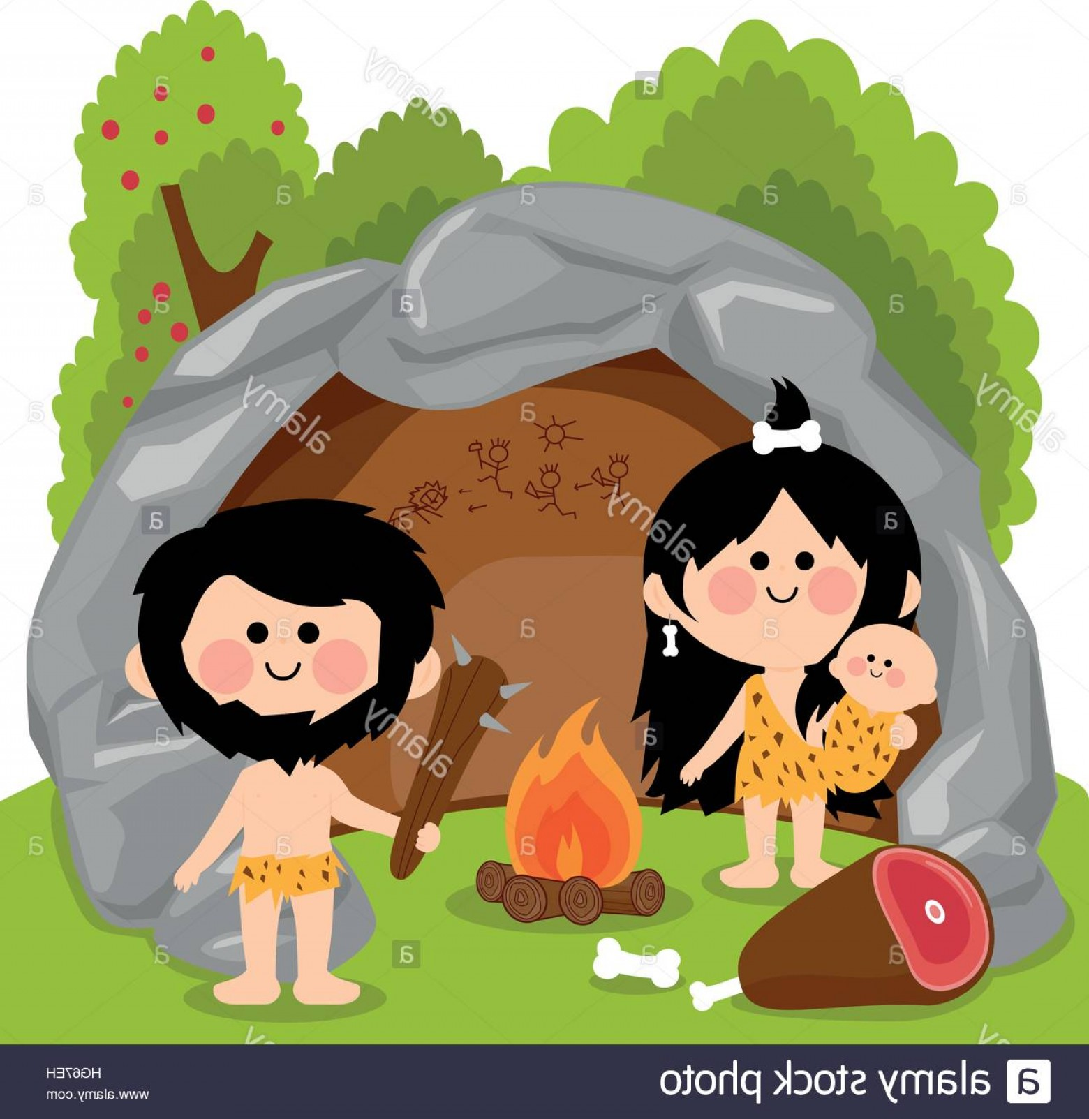 Cave Vector: Stock Photo Cavemen Family In Stone Cave