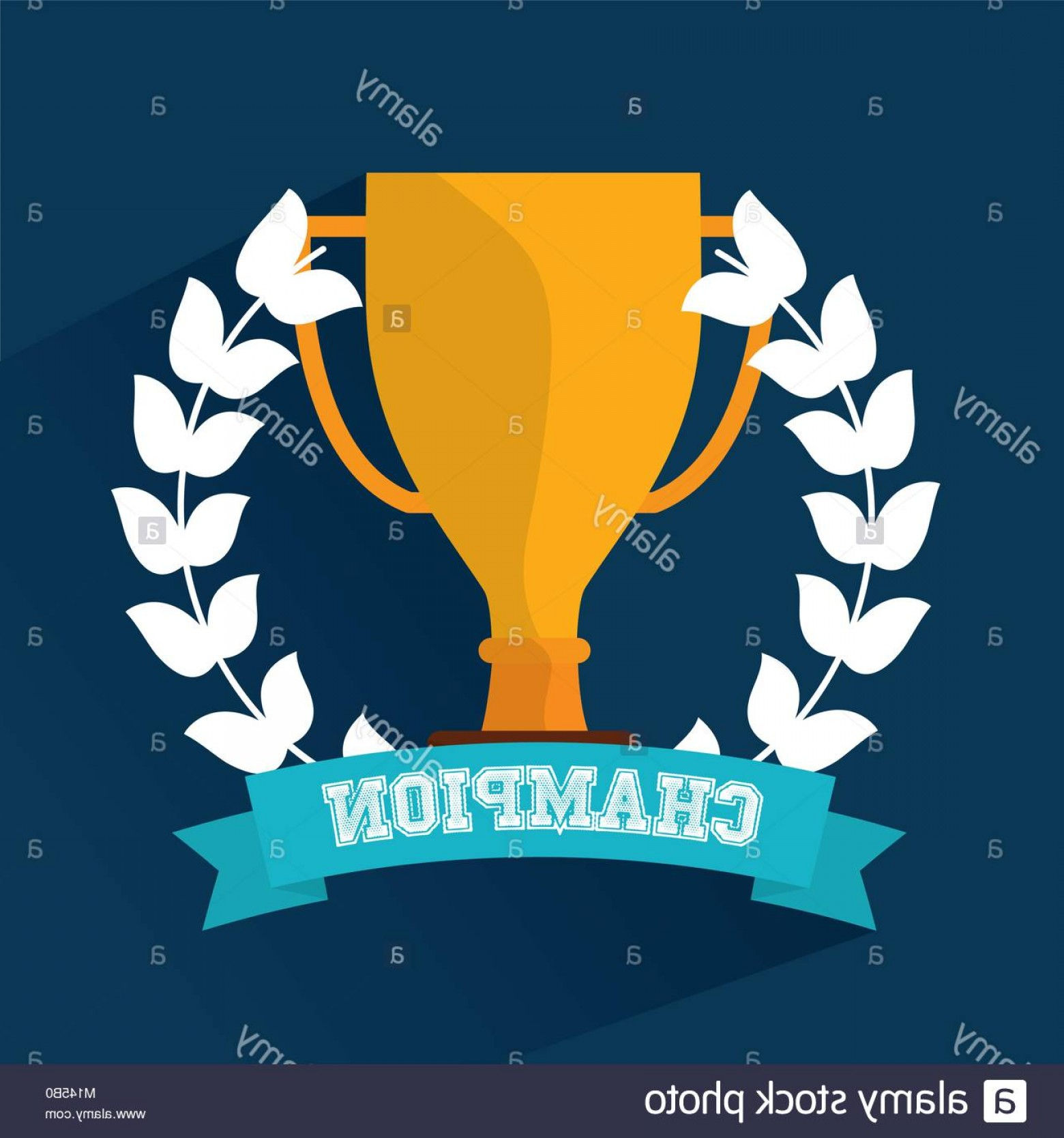 Champion Vector Art: Stock Photo Champion Trophy Award Wreath Banner