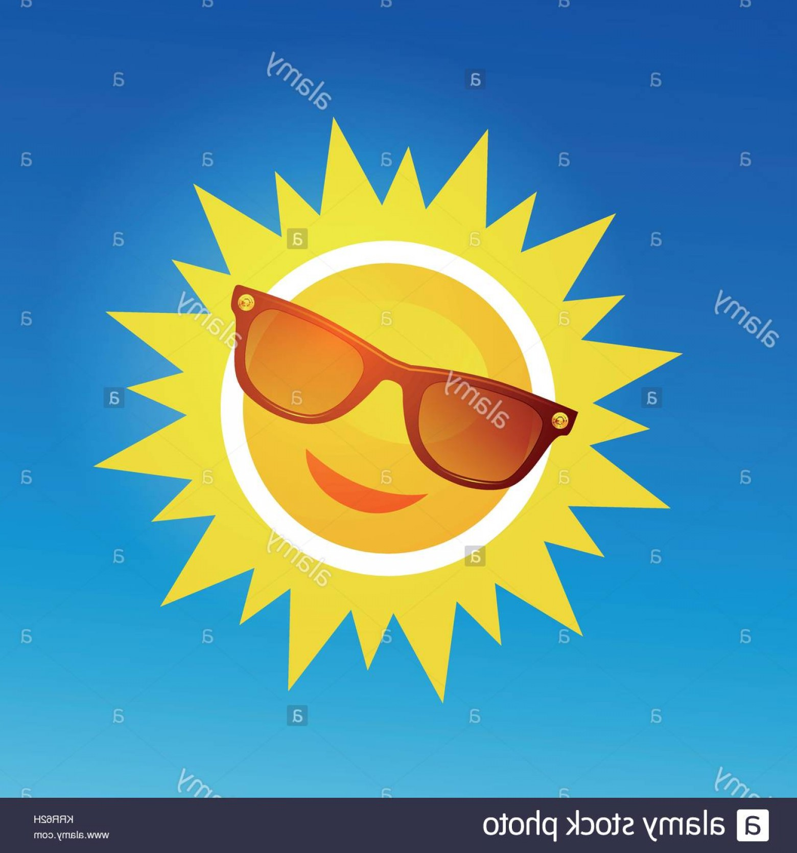 Blue Background Vector Cartoon Sun: Stock Photo Cheerful Smiling Cartoon Sun In Sunglasses On Blue Background Vector