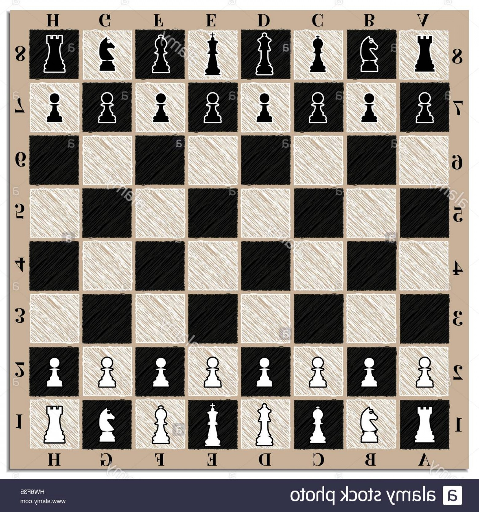 Vector Chess Board: Stock Photo Chessboard With Chess Figures And Marking Vector Illustration