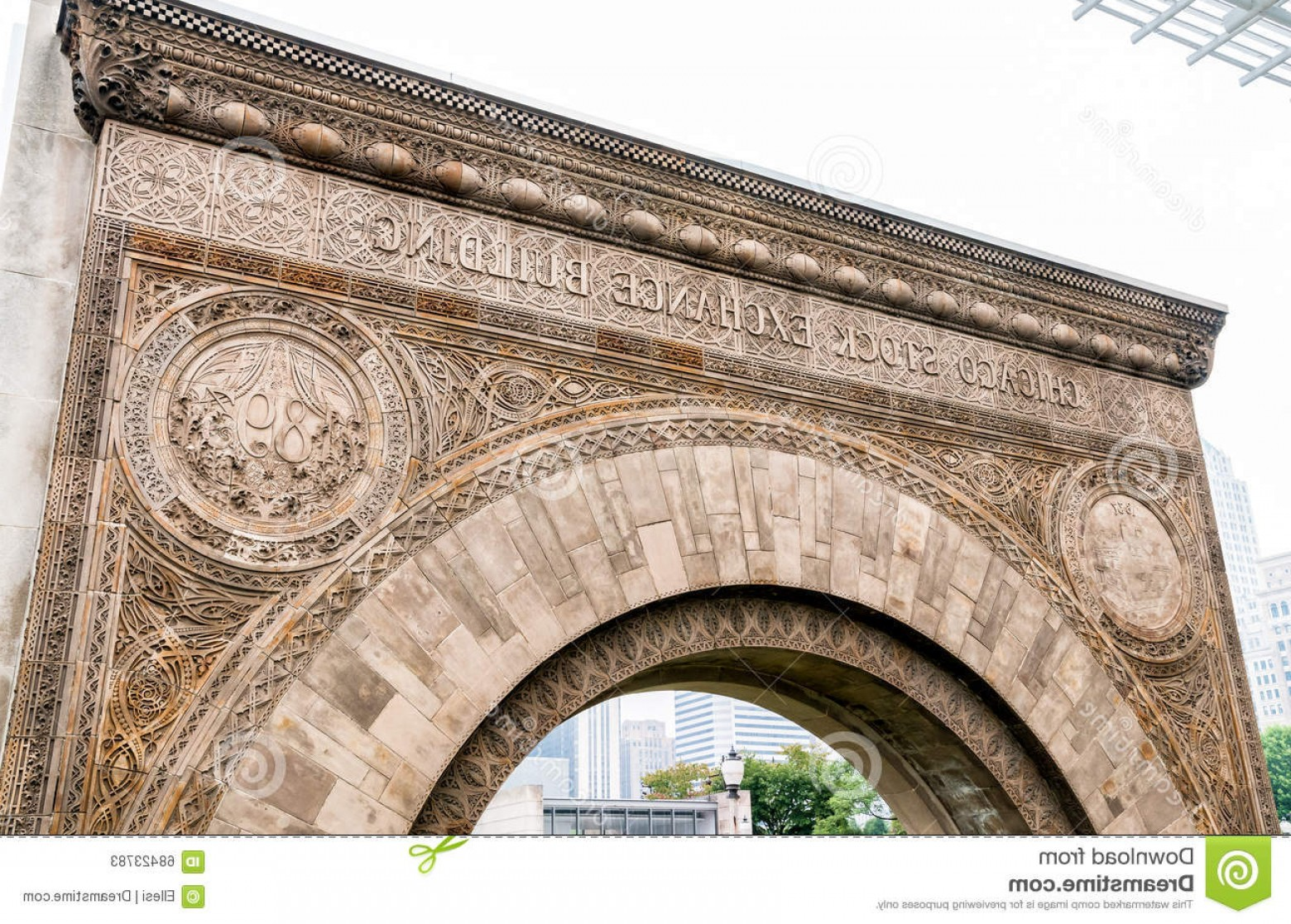 Arch Vector Illinios: Stock Photo Chicago Stock Exchange Entrance Arch Illinois Usa Image