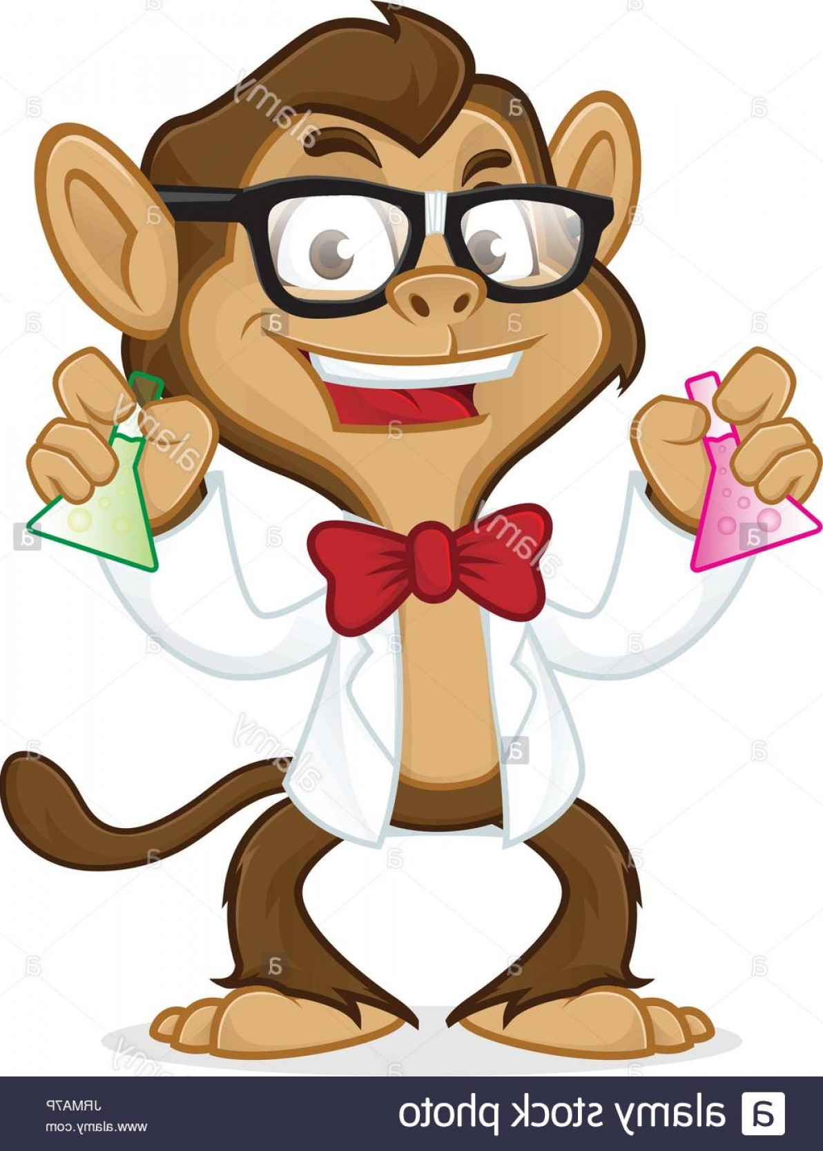 Lab Coat Cartoon Vector: Stock Photo Chimp Cartoon Mascot Wearing Lab Coat And Glasses Isolated In White
