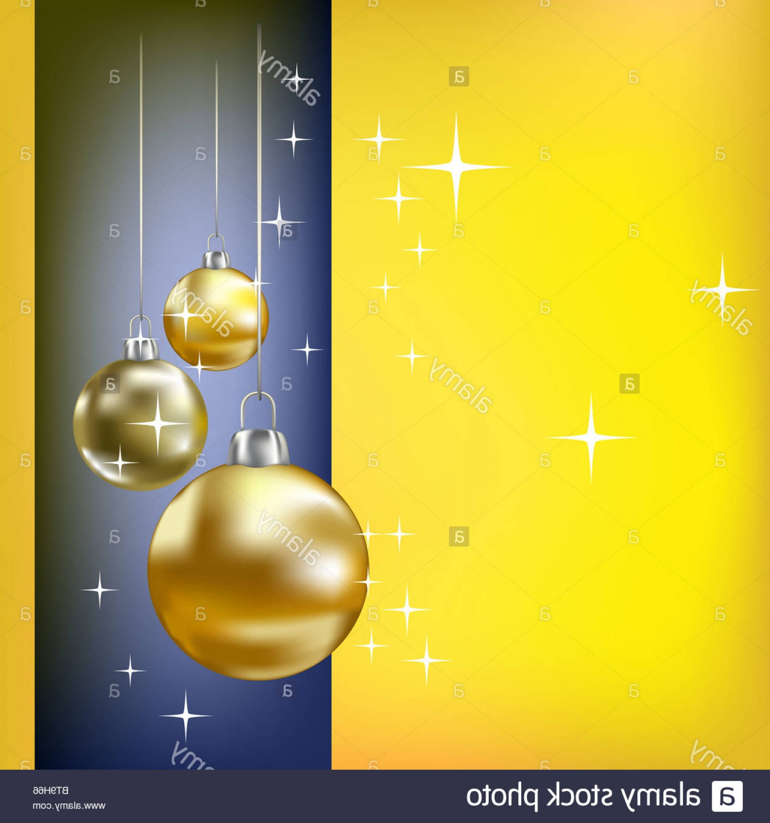 Stars Yellow Christmas Vector: Stock Photo Christmas Balls And Stars Yellow Vector Background