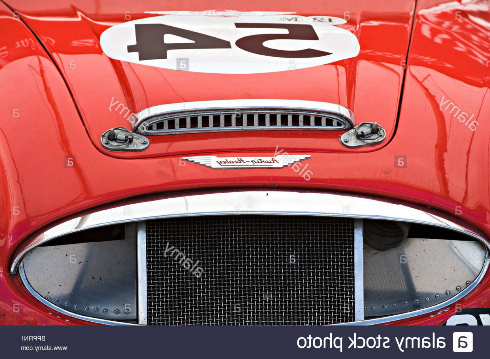 Race Car Grill Vector: Stock Photo Closeup Of Radiator Grille And Bonnet Of A Red Austin Healey