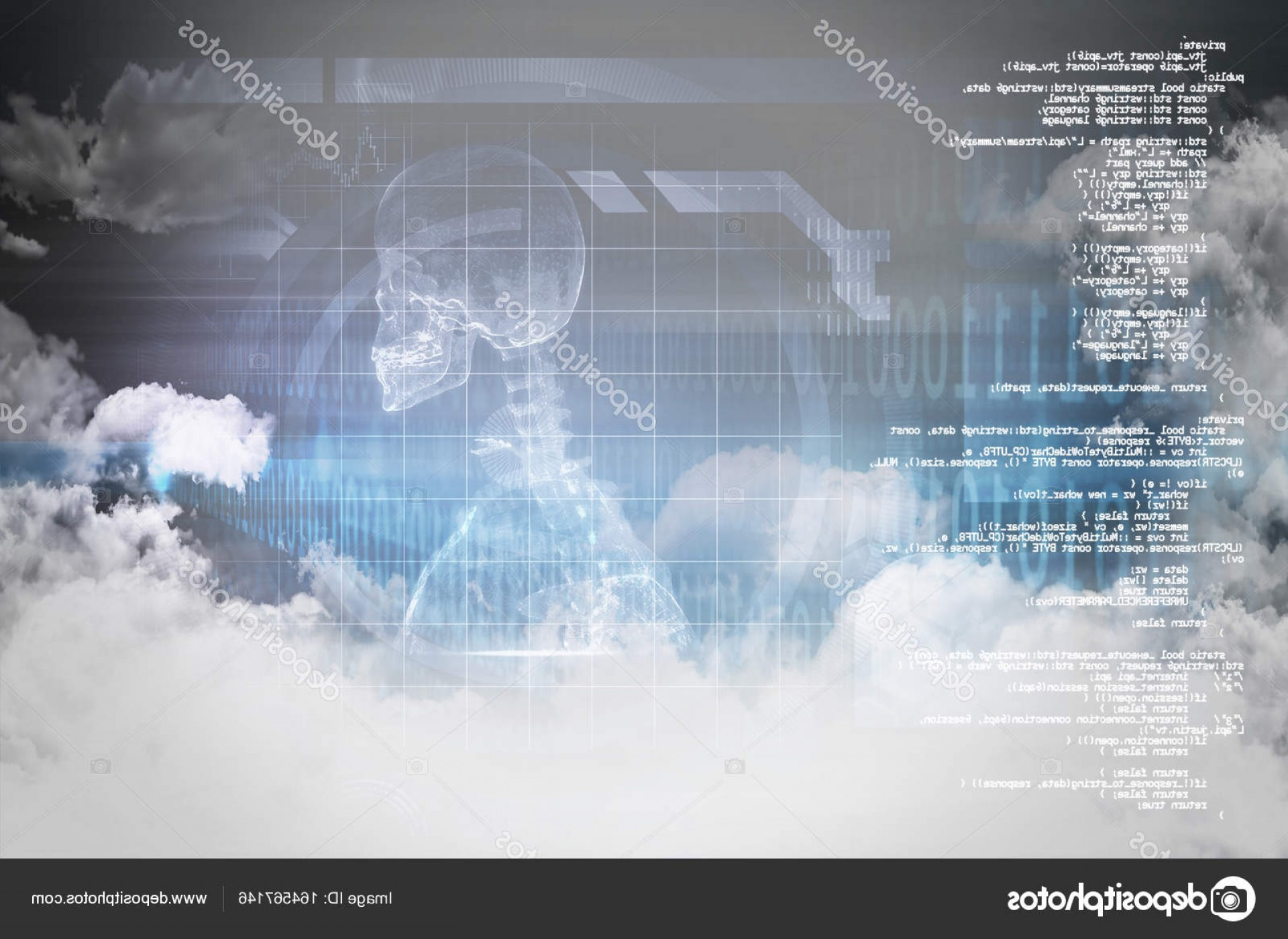 Wstring Vector: Stock Photo Clouds And Binary Coded Computer