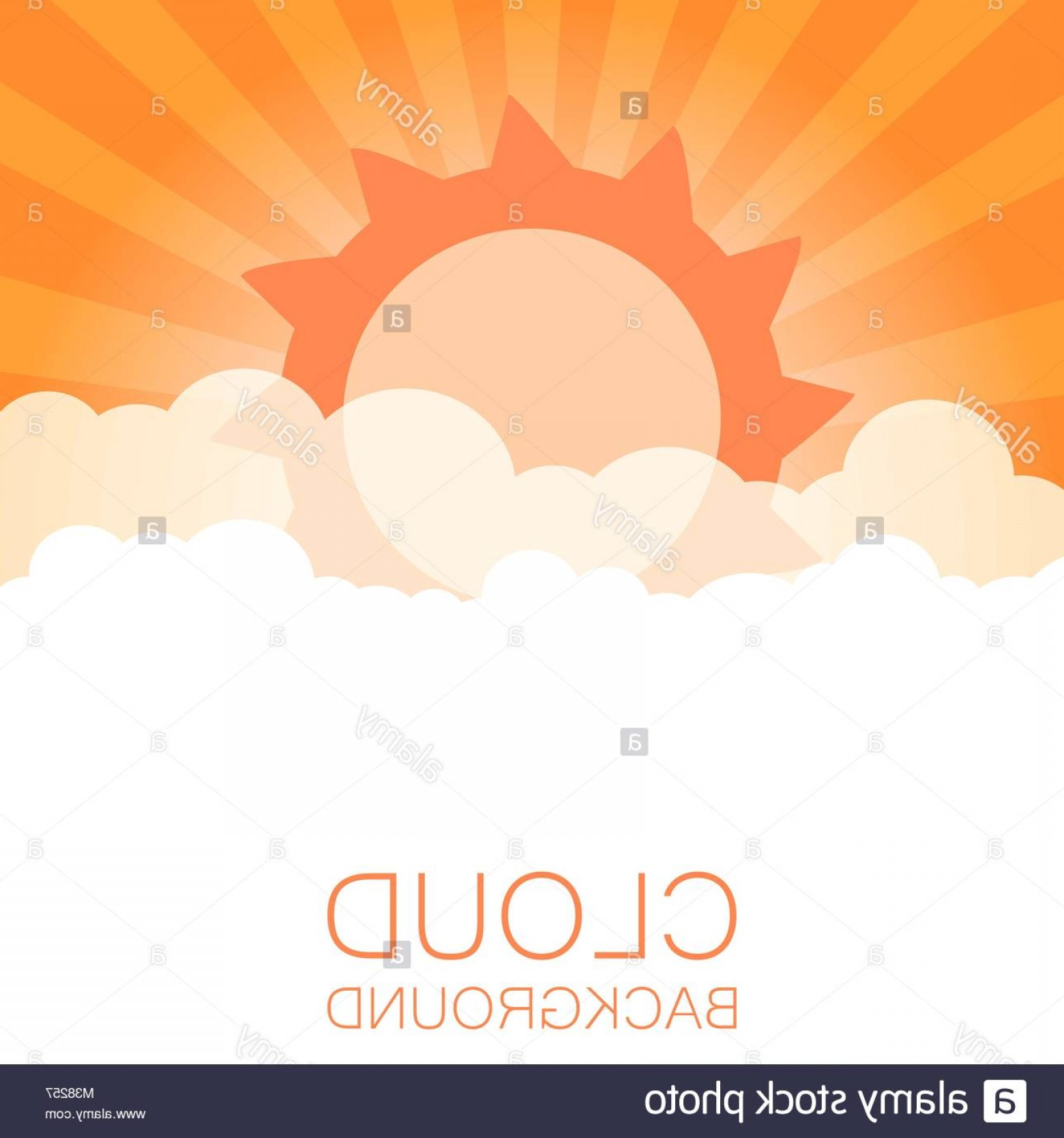 Flat Vector Background Sunset: Stock Photo Clouds In The Sky With Sun Rays Flat Vector Illustration In Cartoon