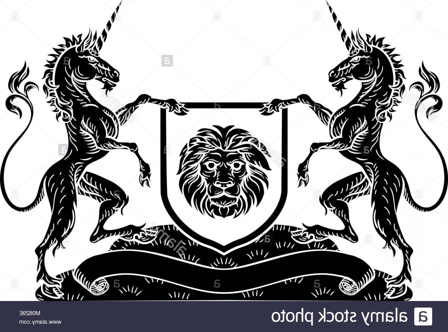 Scotland Heraldic Vector Graphic: Stock Photo Coat Of Arms Emblem Crest Unicorn Shield Heraldic