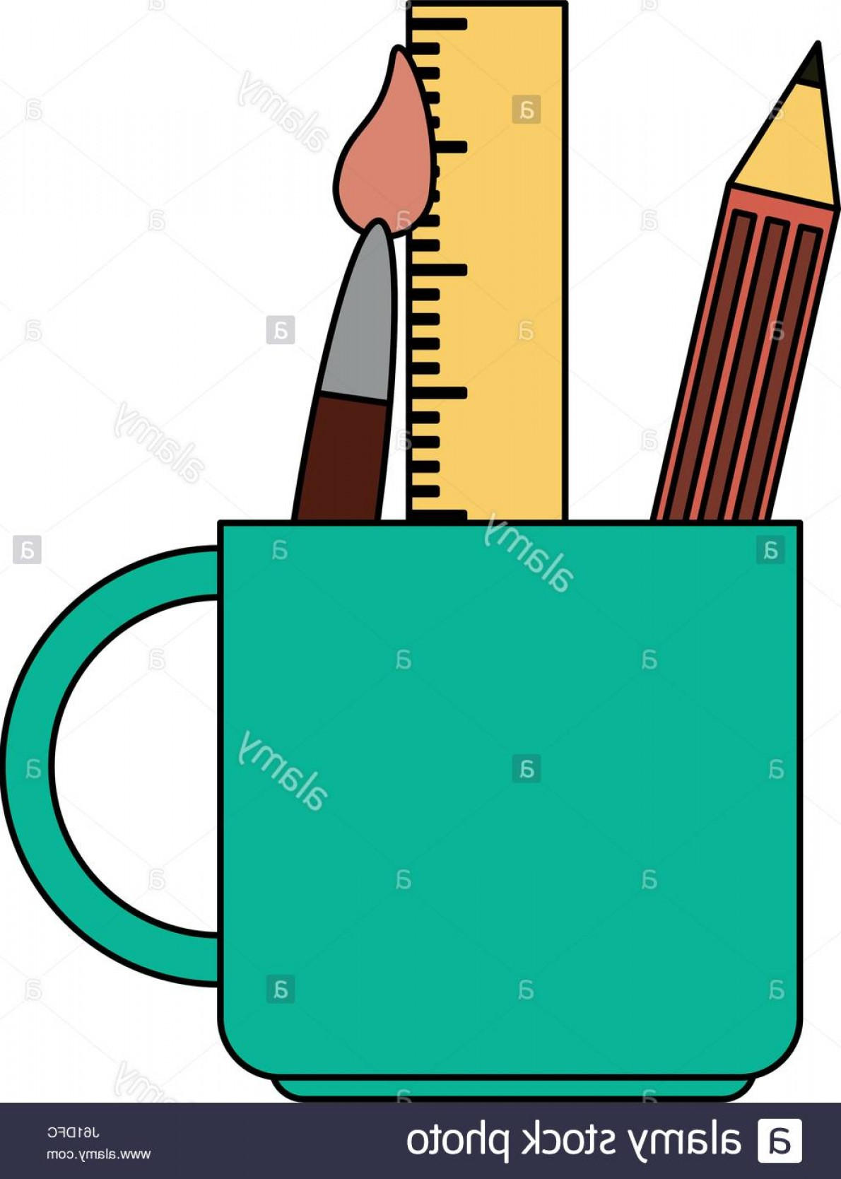 Vector Pencil Holder: Stock Photo Color Image Cartoon Pencil Holder With Brush And Ruler