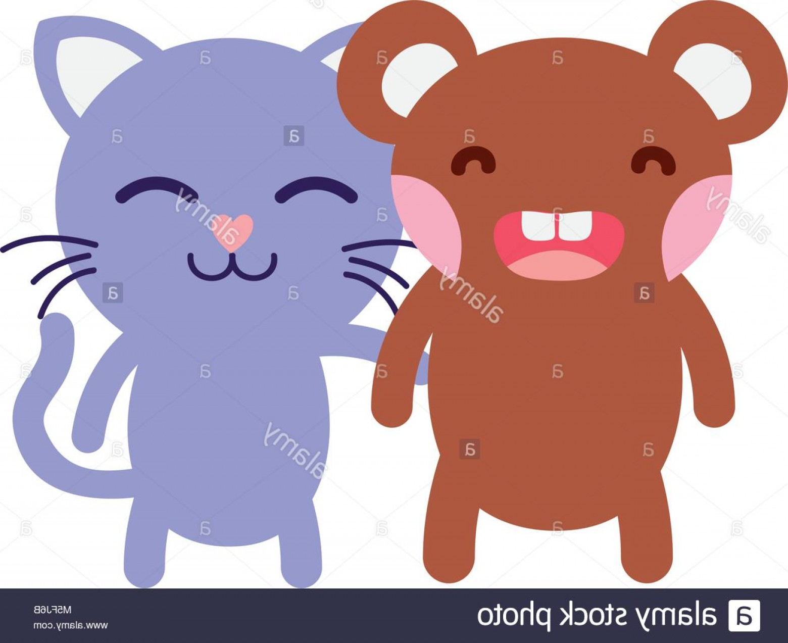 Vector Cats 3: Stock Photo Colorful Bear And Cat Cute Animals Friends Vector Illustration