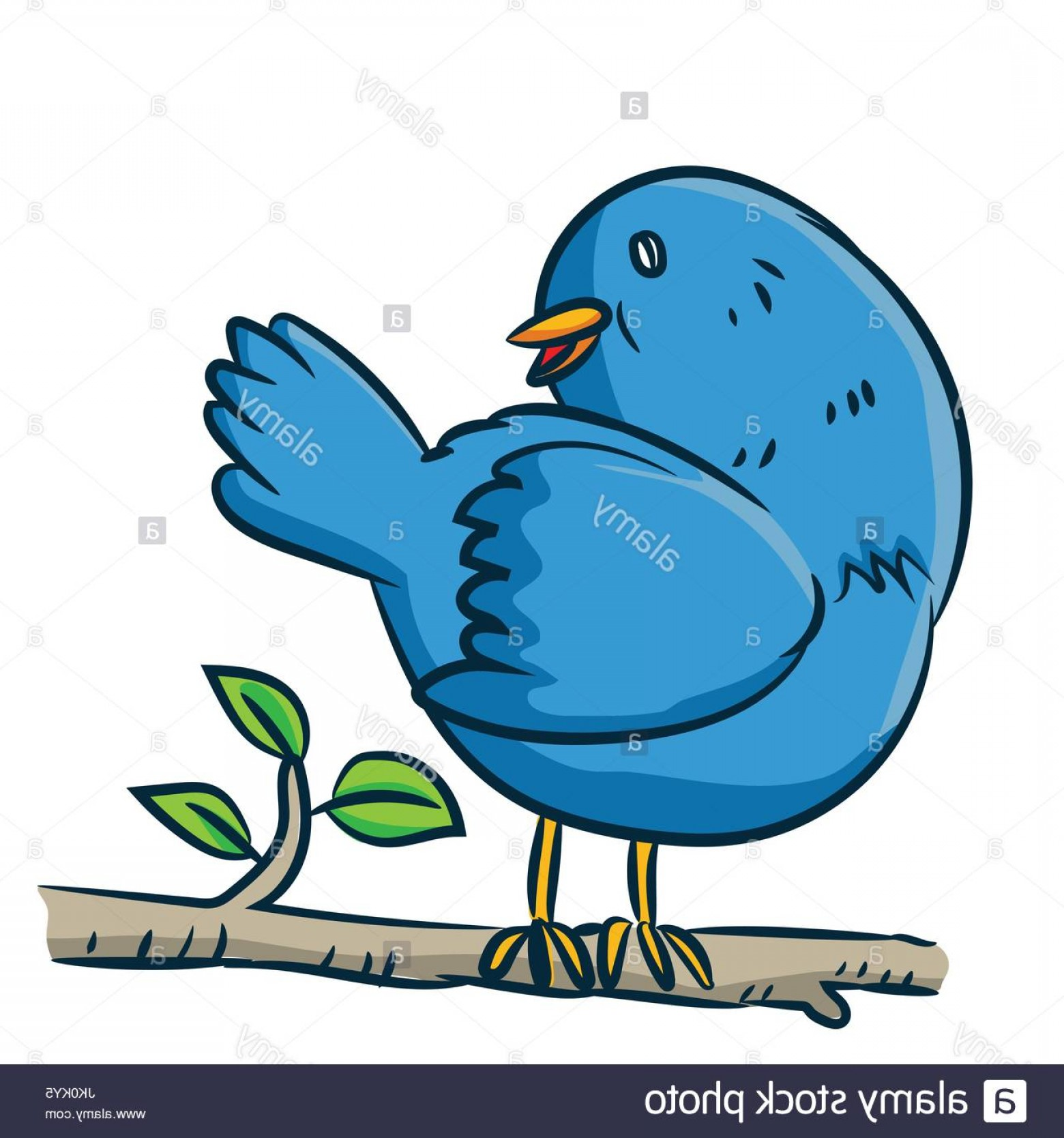 Cartoon Water Background Vector Clip Art: Stock Photo Colorful Cartoon A Bird On Branch Of Tree On White Background Vector