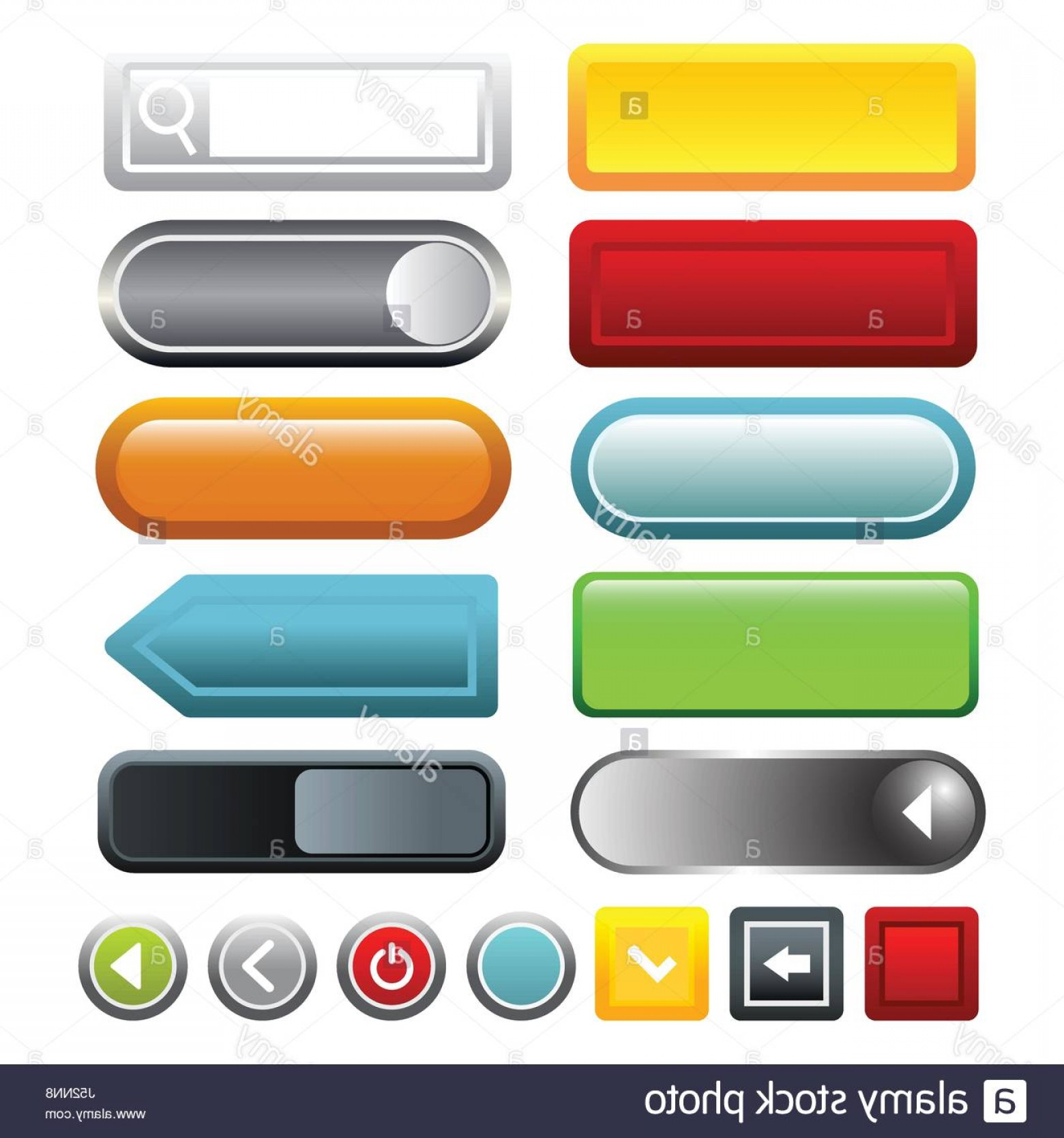 Web Buttons Vector: Stock Photo Colorful Gradient Blank Web Buttons Icons Set Cartoon Illustration