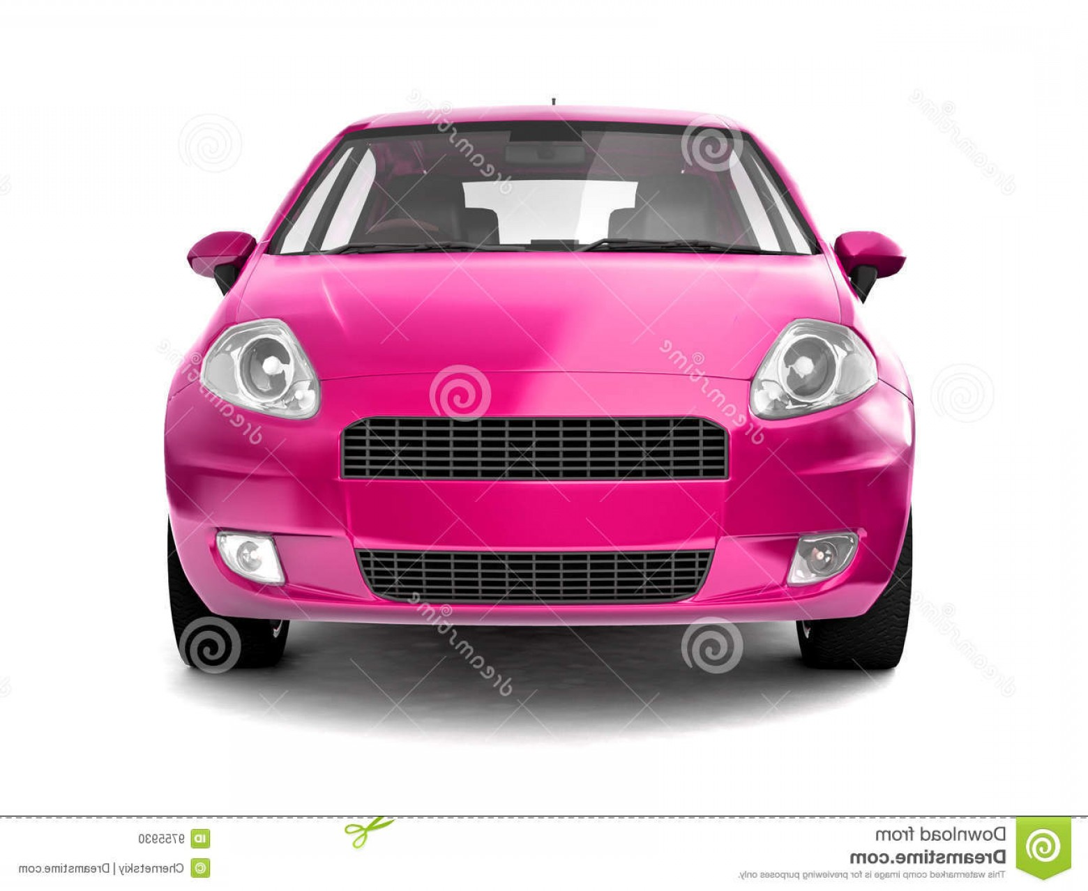 Car Vector Front Elevation: Stock Photo Compact Pink Car Front View Image