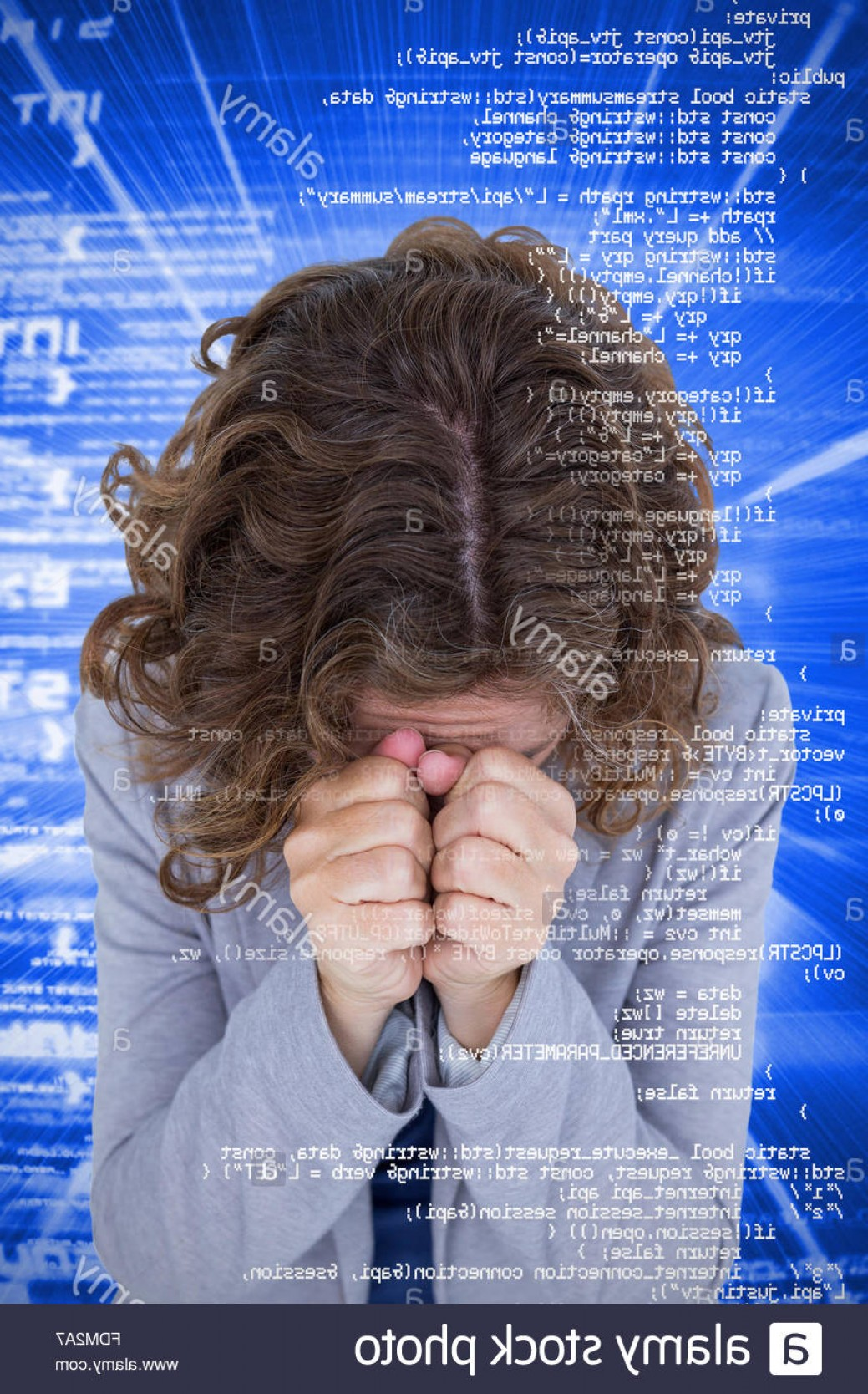 Wstring Vector: Stock Photo Composite Image Of Upset Woman With Hands Covering Face