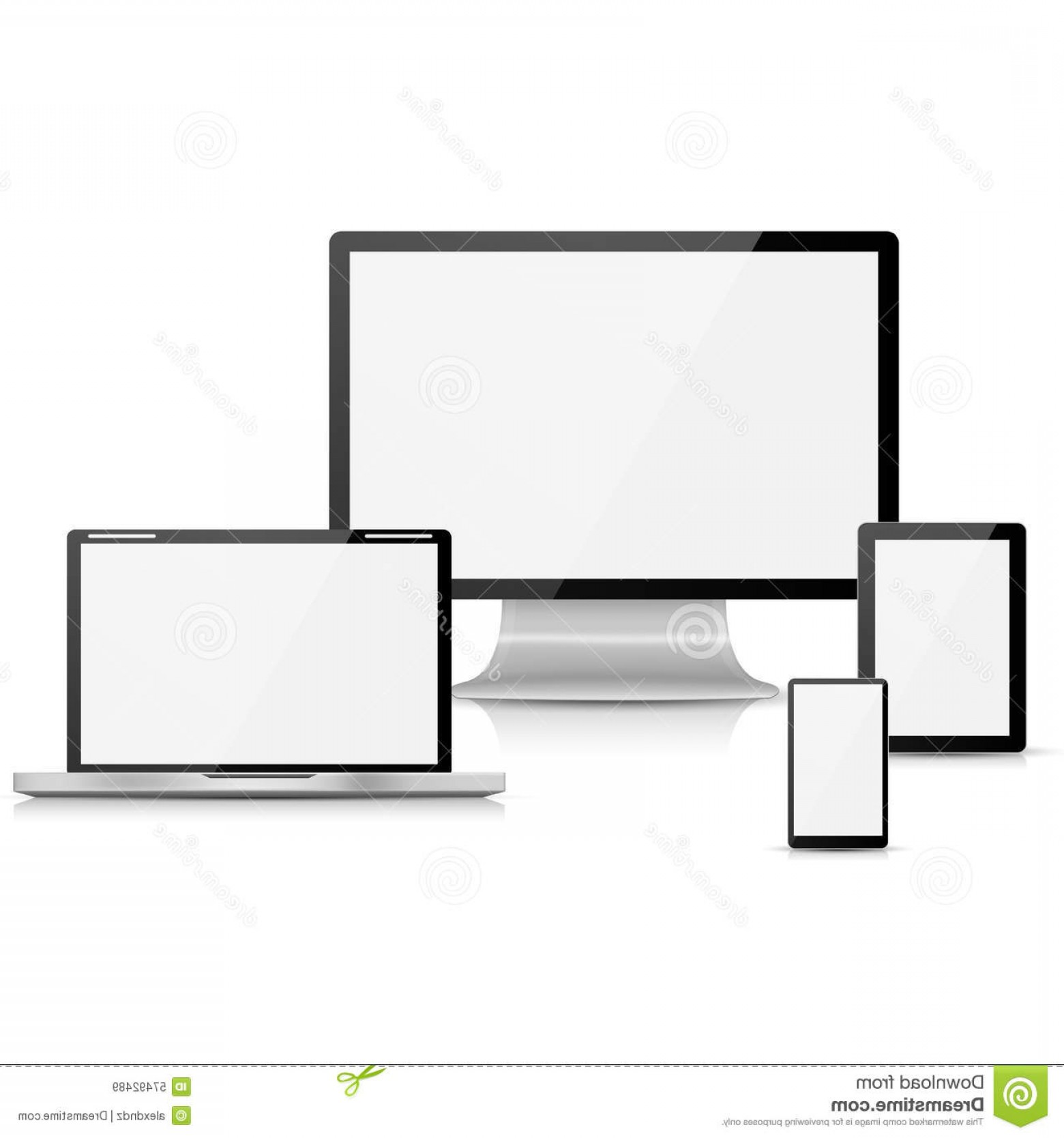 Vector Monitors Mac: Stock Photo Computer Monitor Laptop Tablet Mobile Phone White Background Image