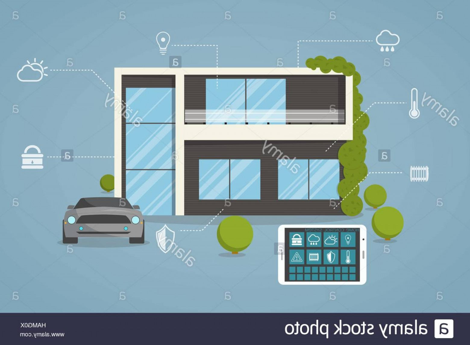 Smart Home Remote Vector: Stock Photo Contemporary Eco Smart House Design With Remote Control From Tablet