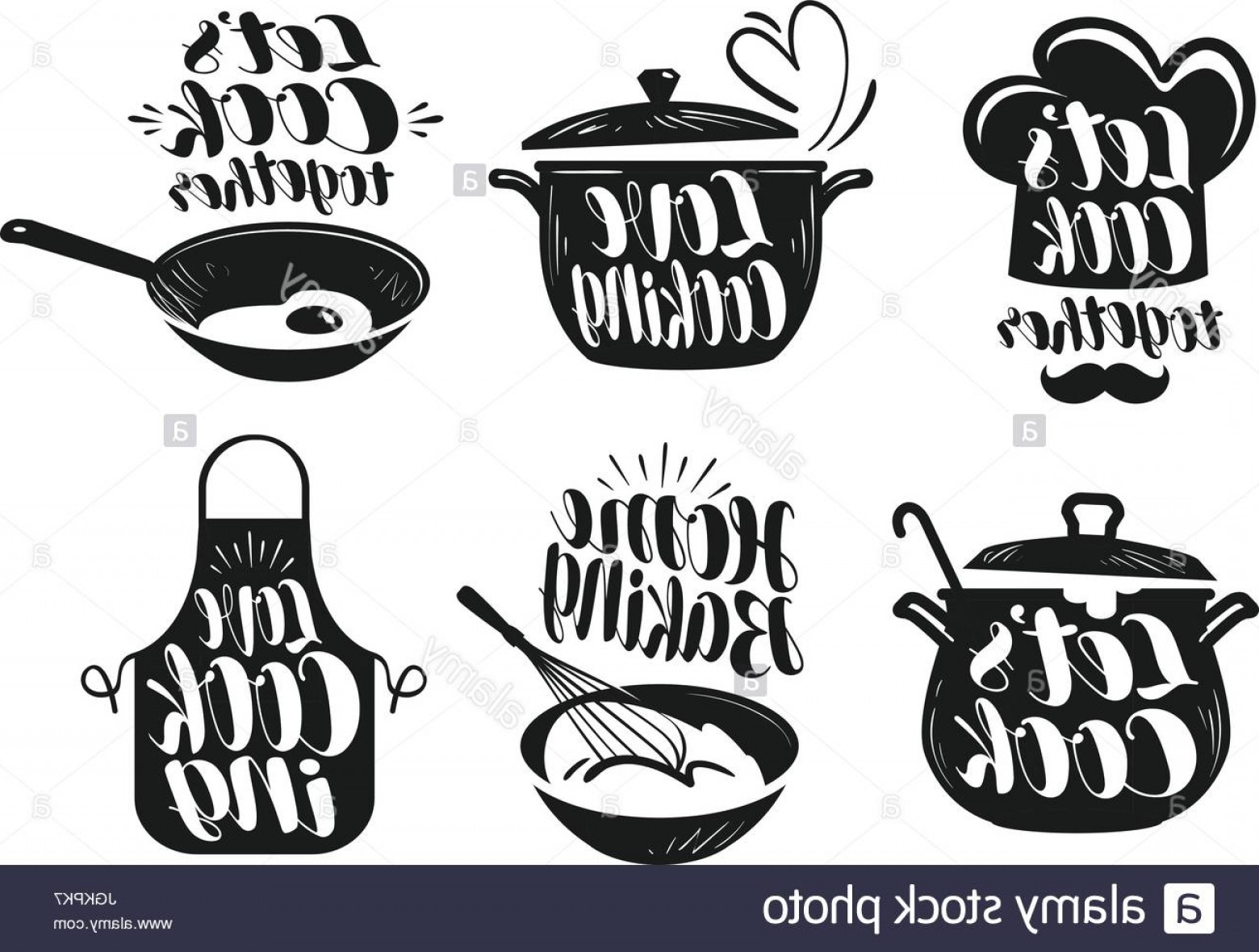 Vector Chef Utensils: Stock Photo Cooking Cookery Cuisine Label Set Cook Chef Kitchen Utensils Icon