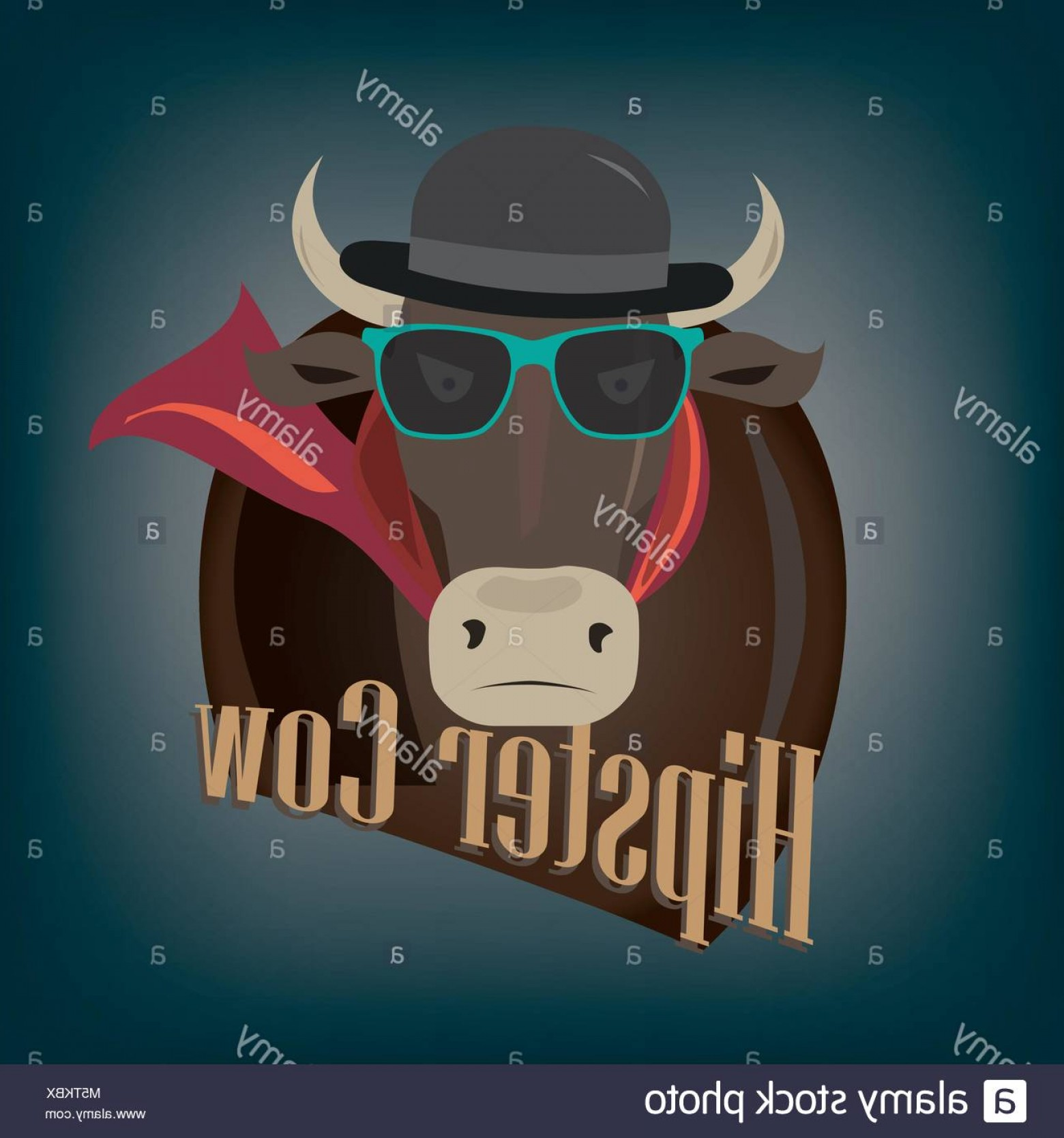 Cool Evil Vectors: Stock Photo Cool Hipster Demonic Evil Cow Illustration