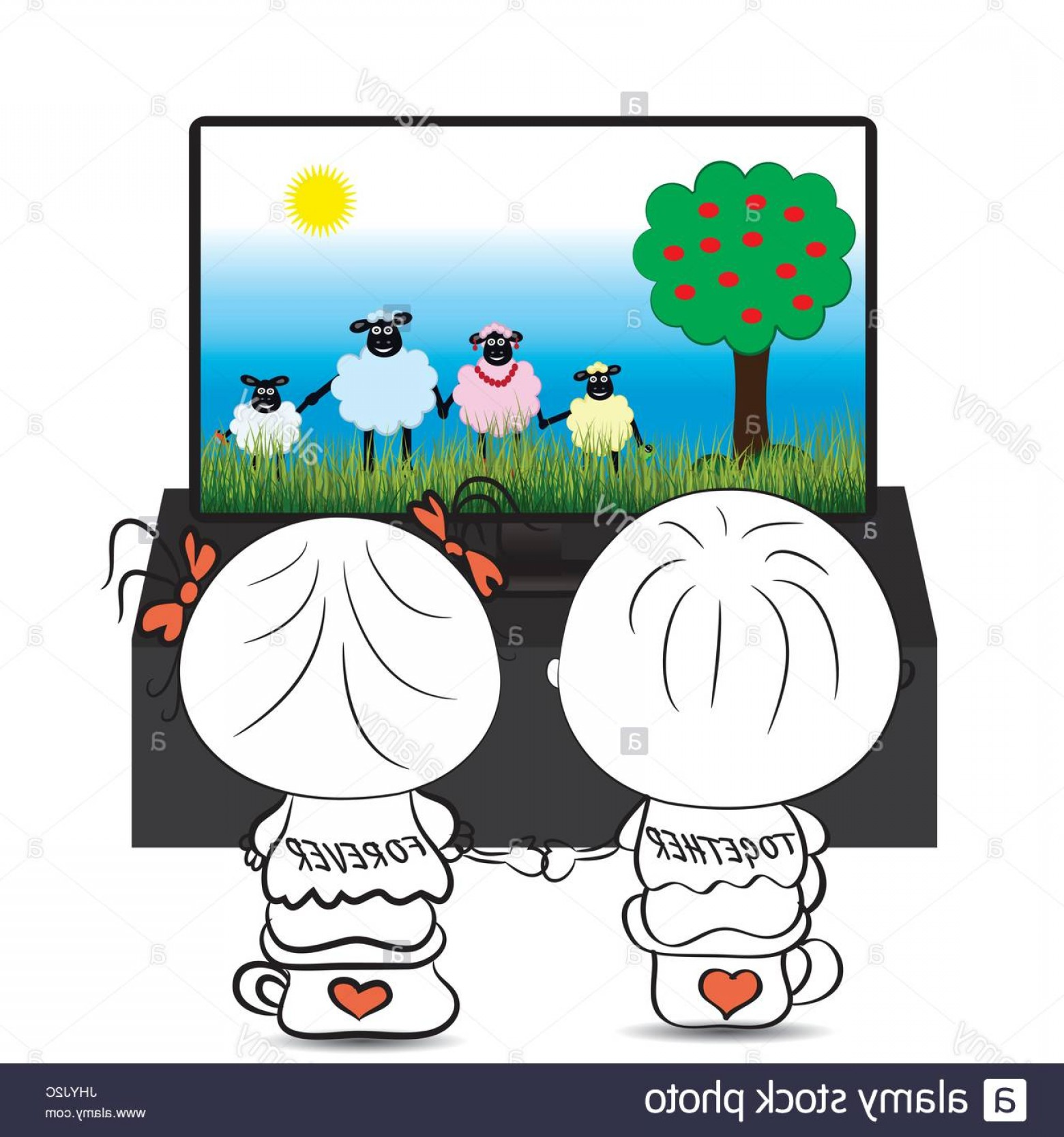 Bond Girls Vector: Stock Photo Couple Boy And Girl Watching Cartoon About Cute Sheep On Tv Vector