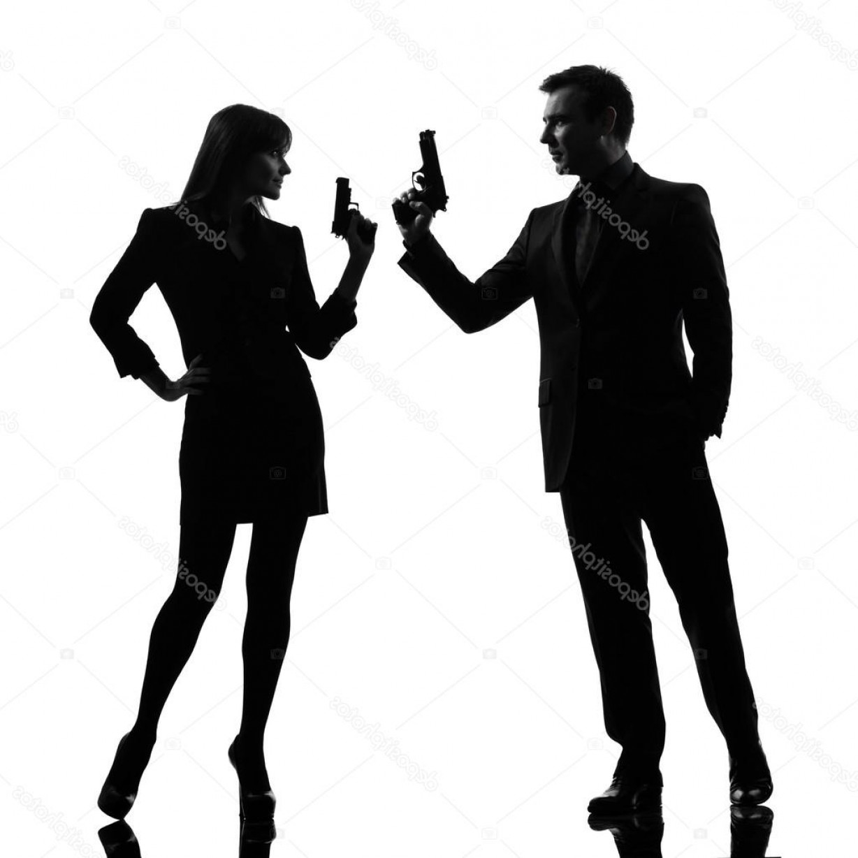 James Bond Silhouette Vector: Stock Photo Couple Woman Man Detective Secret