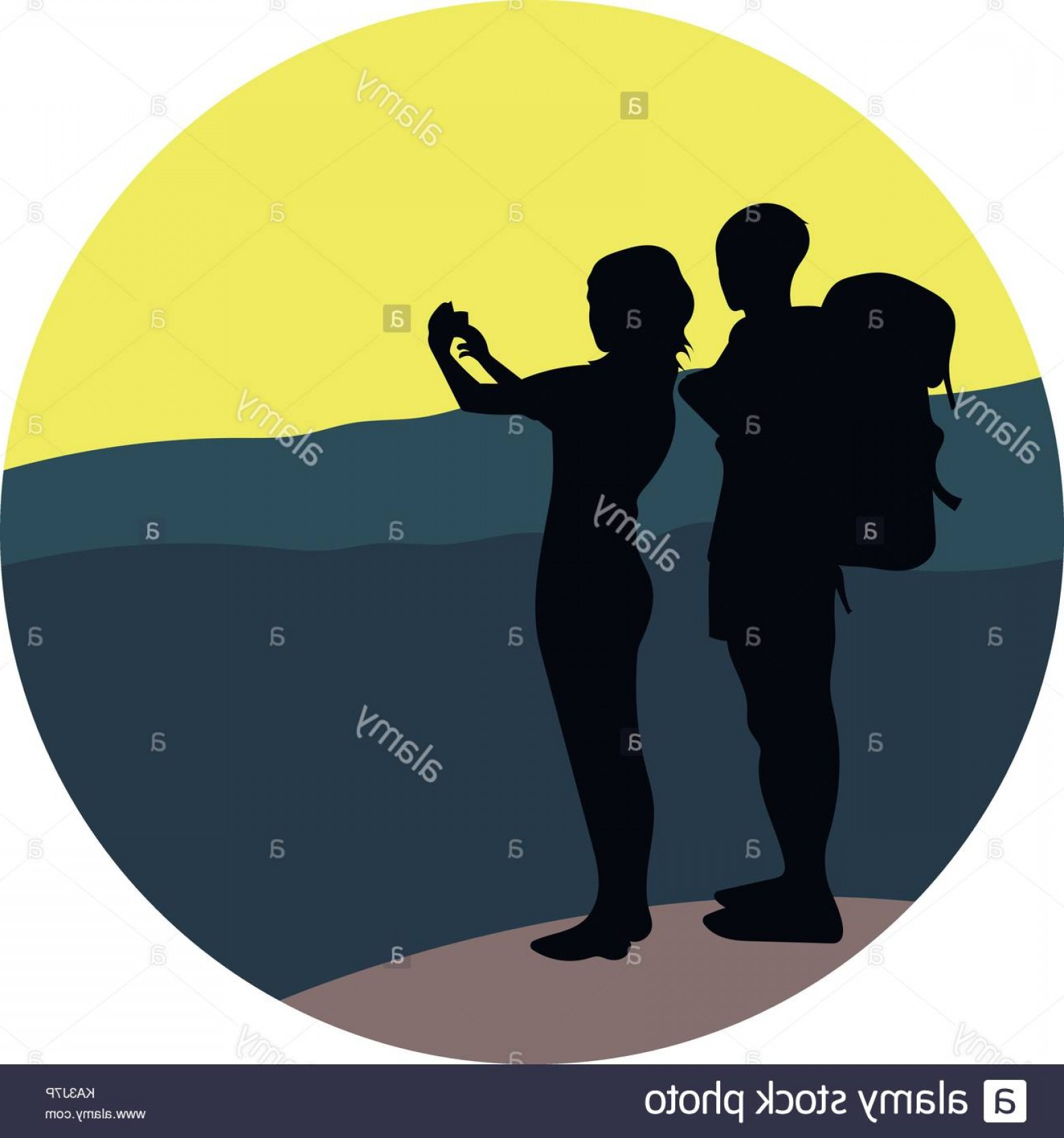 Mountain Trail Vector: Stock Photo Couple Young Man And Woman Walking On A Mountain Trail And Looking