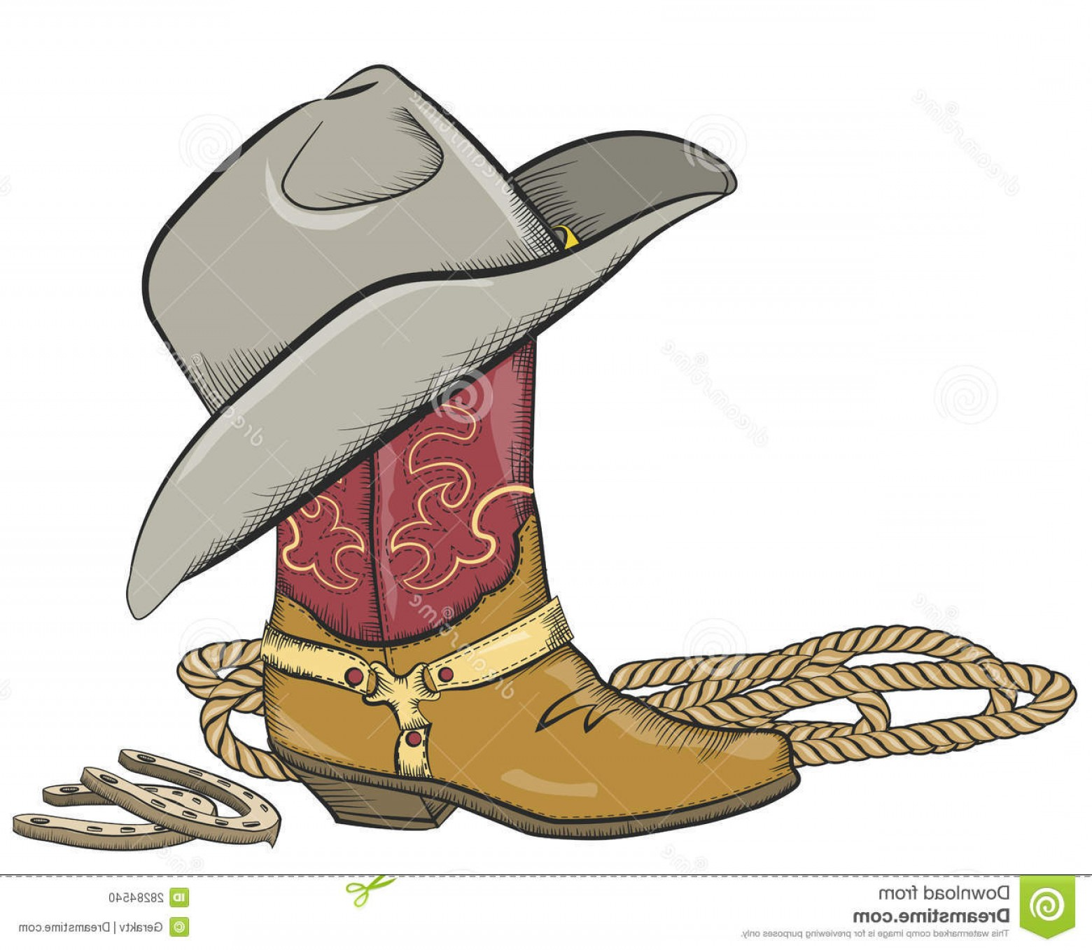 Two Cowgirl Boots Vector: Stock Photo Cowboy Boot Western Hat Isolated White Image