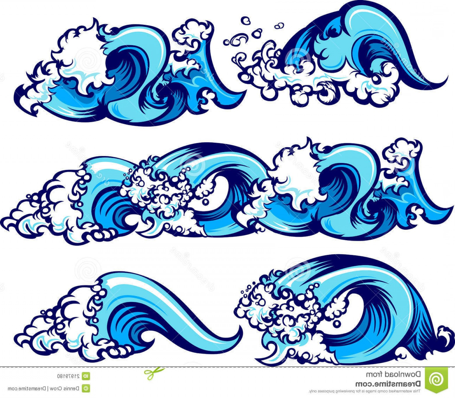 Ocean Wave Vector Illustration: Stock Photo Crashing Water Waves Vector Illustrations Image