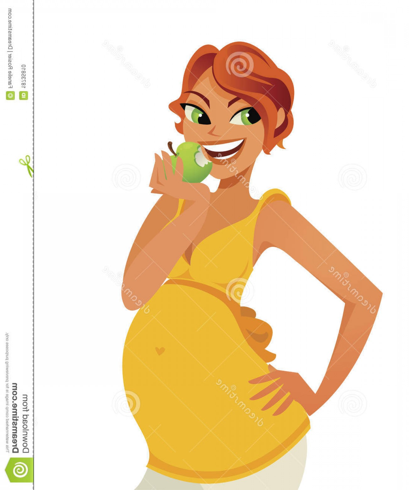 Pregnant Vector Art: Stock Photo Cute Pregnant Healthy Eating Vector Image