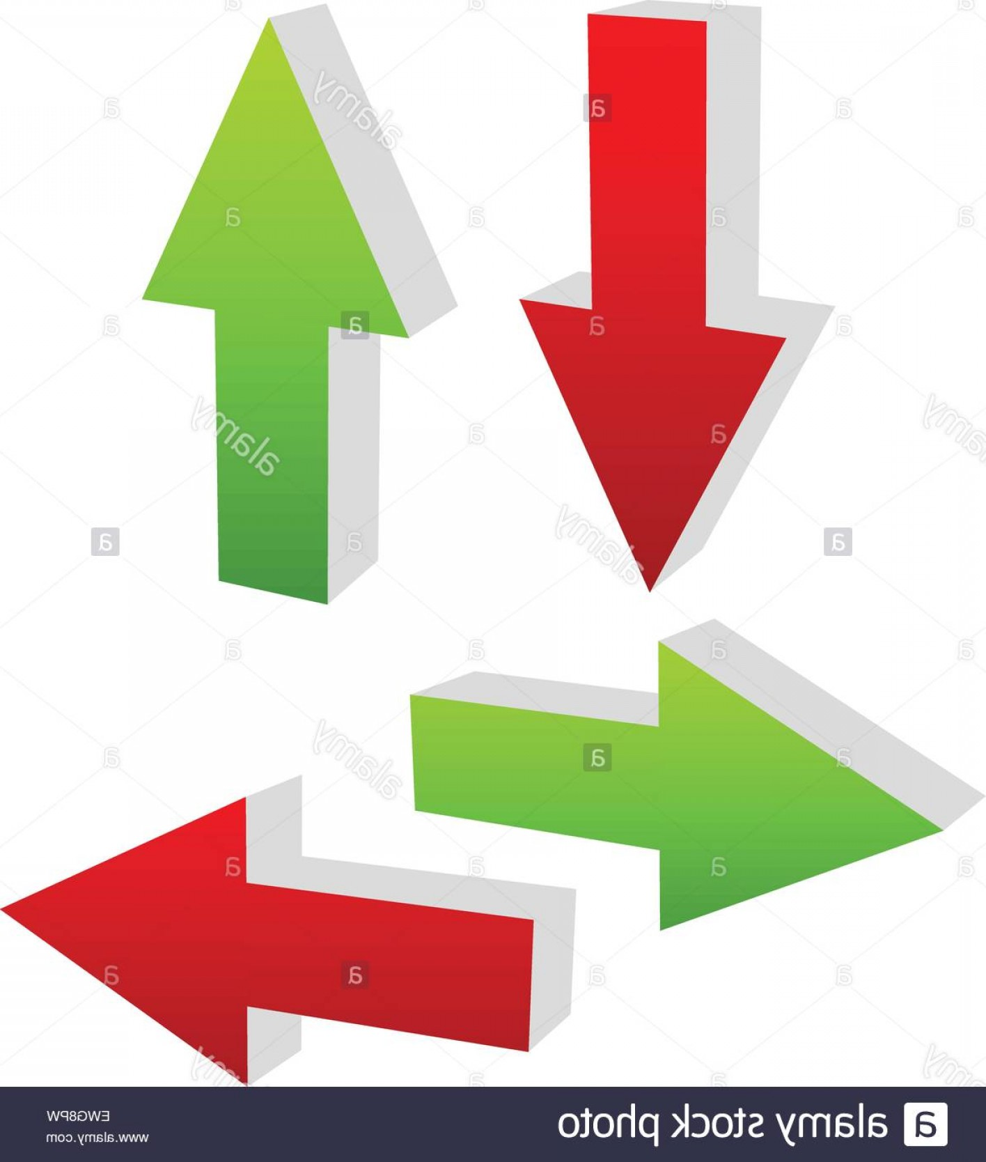 Up And Right Arrows Vector: Stock Photo D Green And Red Arrows Pointing To Different Directions Up Down Left