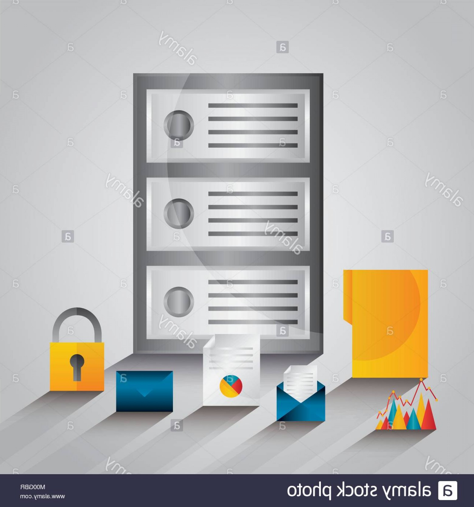 Vector Email Server: Stock Photo Data Server Center Technology Email File Security