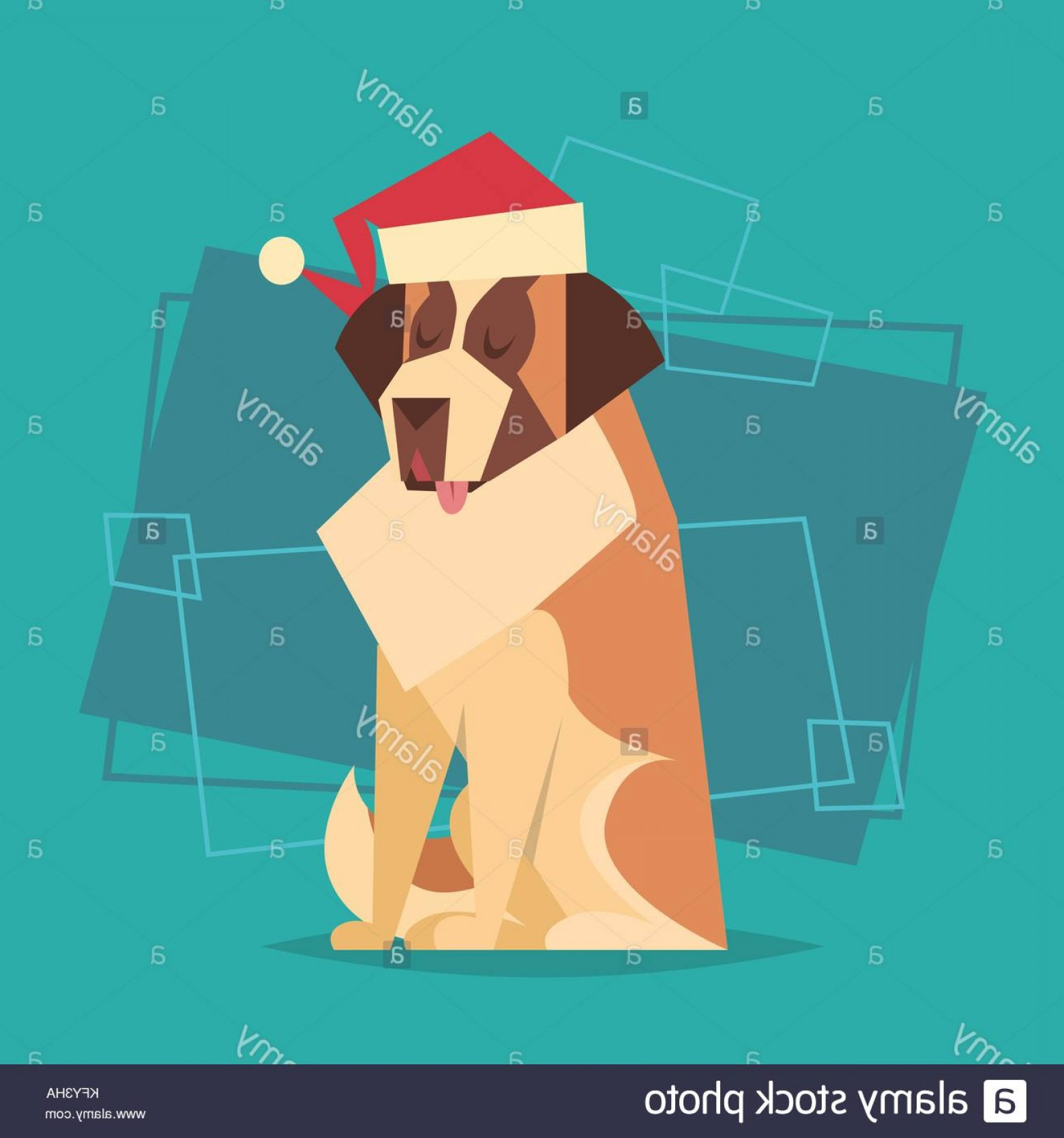Bpxer Vector Art Happy Dog: Stock Photo Dog Wear Santa Hat Happy New Year Zodiac Symbol Icon