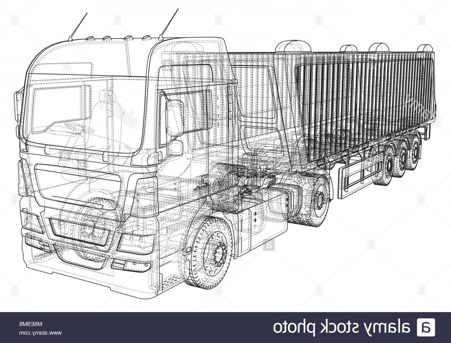 Dump Truck Vector Black And White: Stock Photo Dump Truck Vector Illustration Isolated White Tipper Lorry Tracing