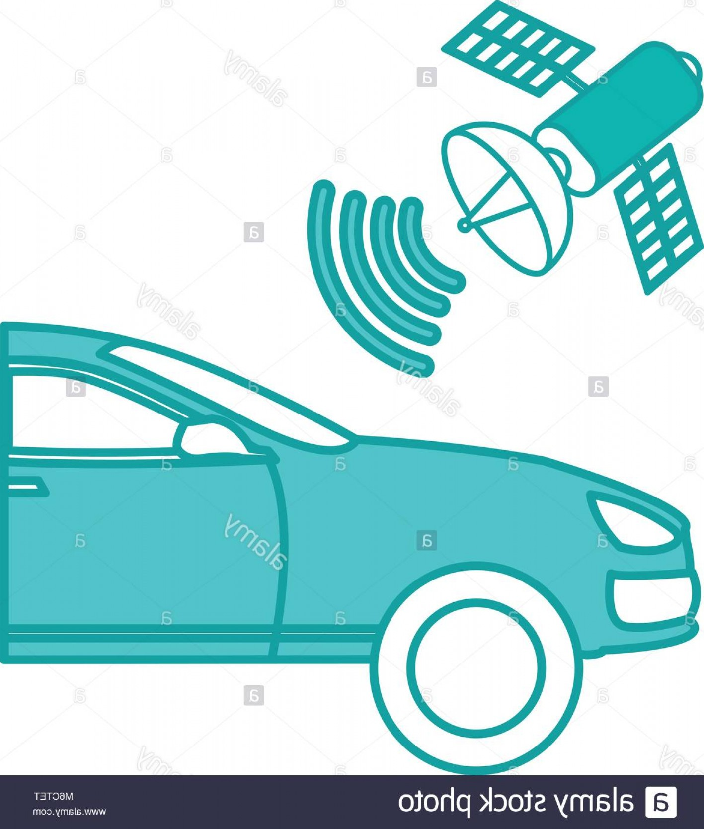 Auto Mobile Vector Art: Stock Photo Duo Color Automobile With Satellite Wifi Connection Technology