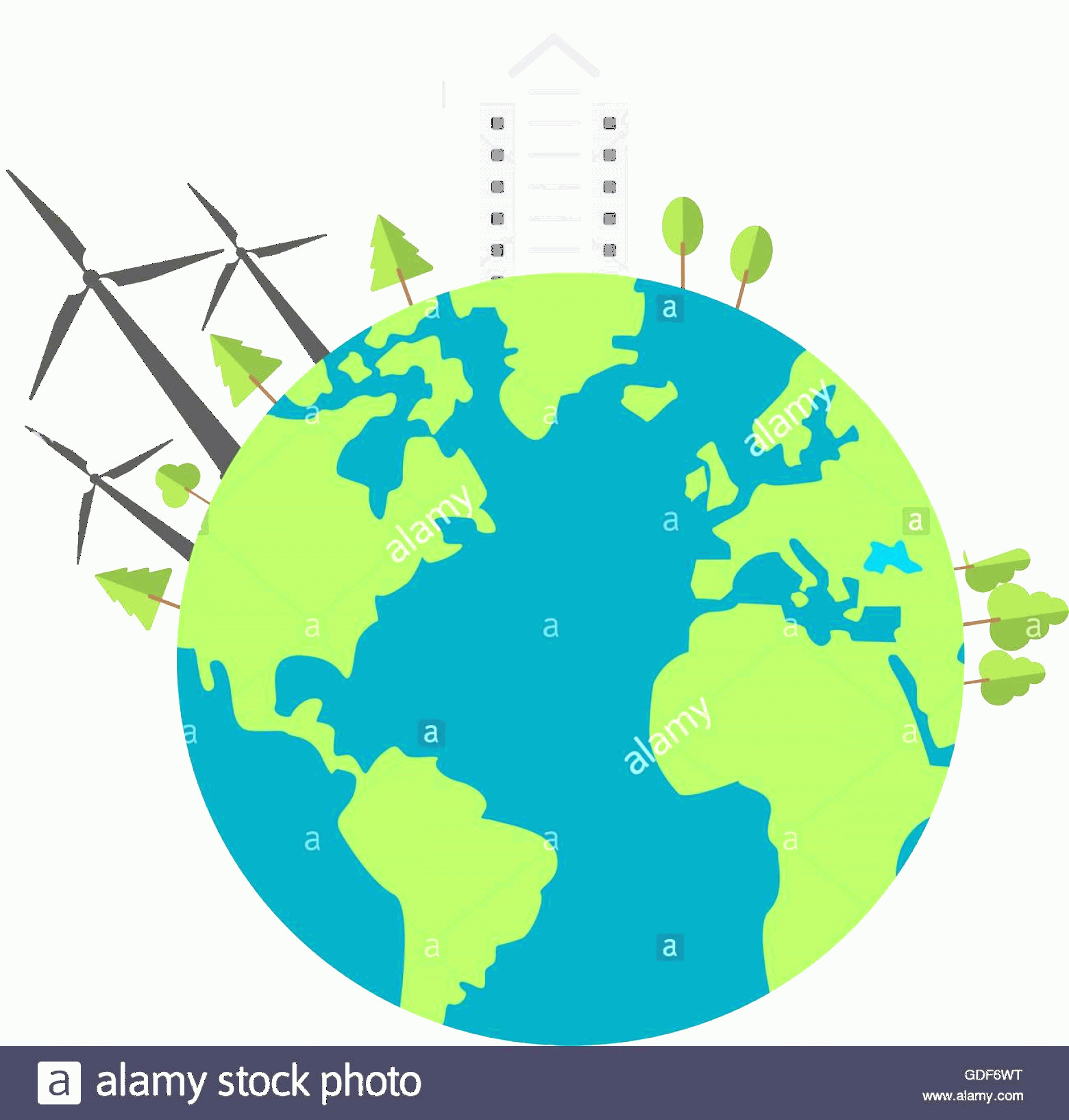 Earth With Buildings Vector: Stock Photo Earth Globe With Buildings And Wind Turbines Icon