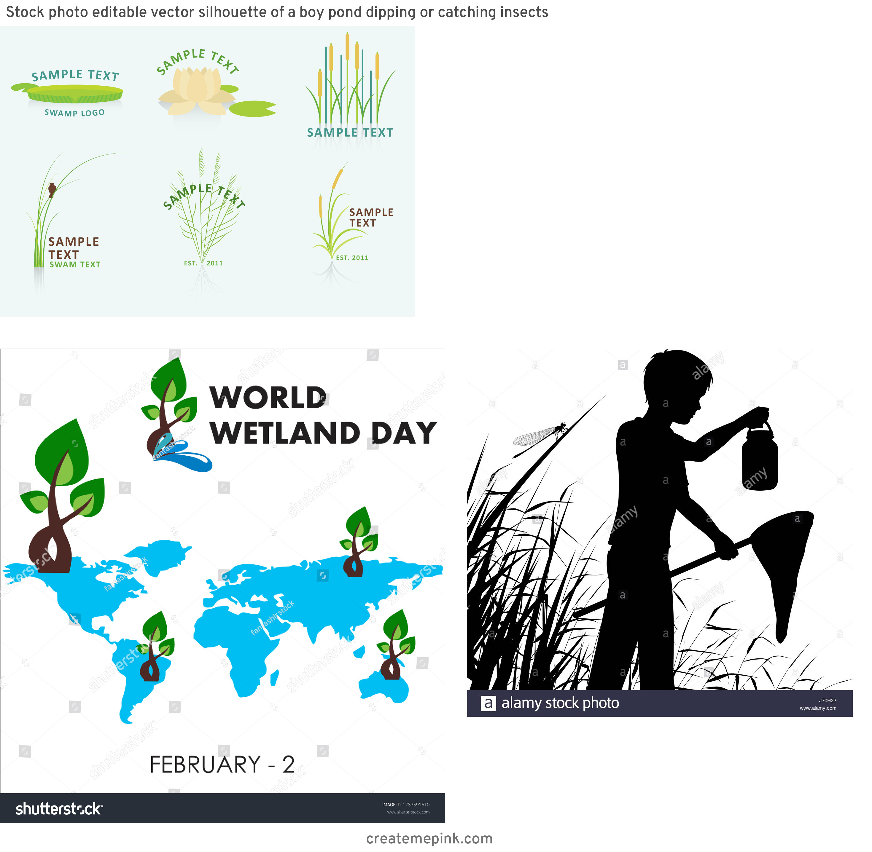 Vector Wetland: Stock Photo Editable Vector Silhouette Of A Boy Pond Dipping Or Catching Insects