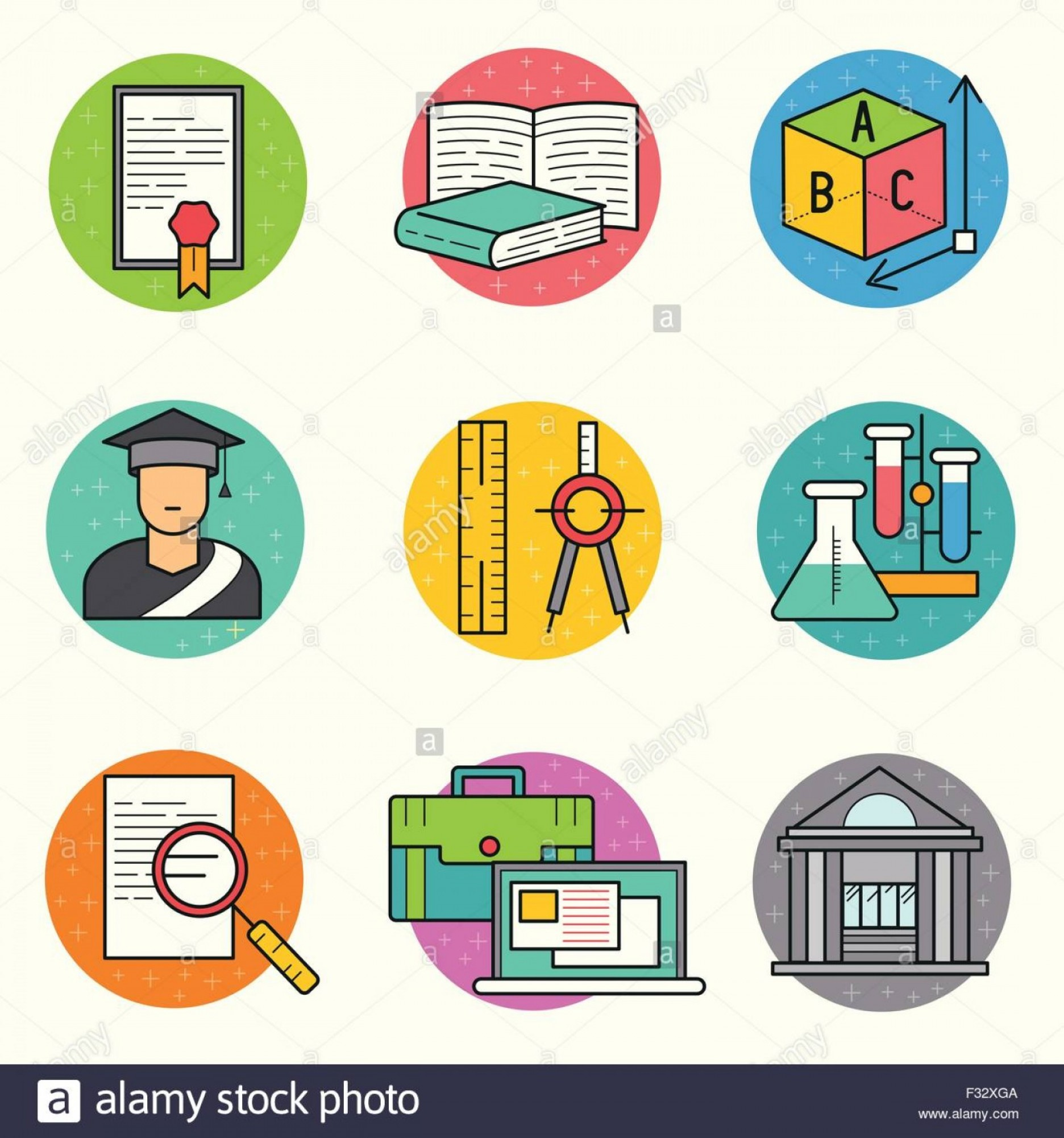 Dispicable Me Vectors House: Stock Photo Education Vector Icon Set A Collection Of Study And Research Symbols