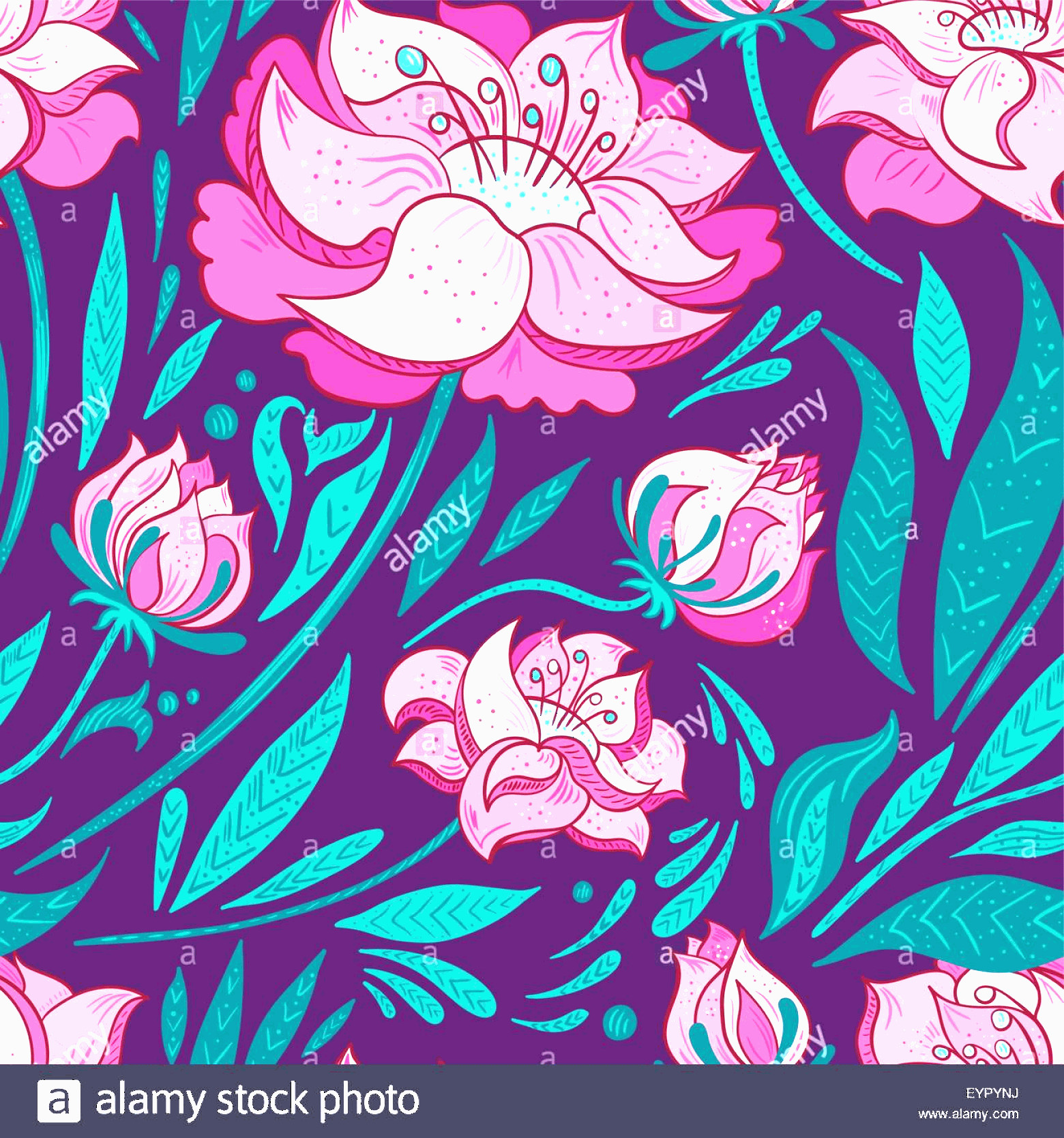 Contemporary Wallpaper Art Vector: Stock Photo Elegant Seamless Pattern With Flat Design Florals For Contemporary