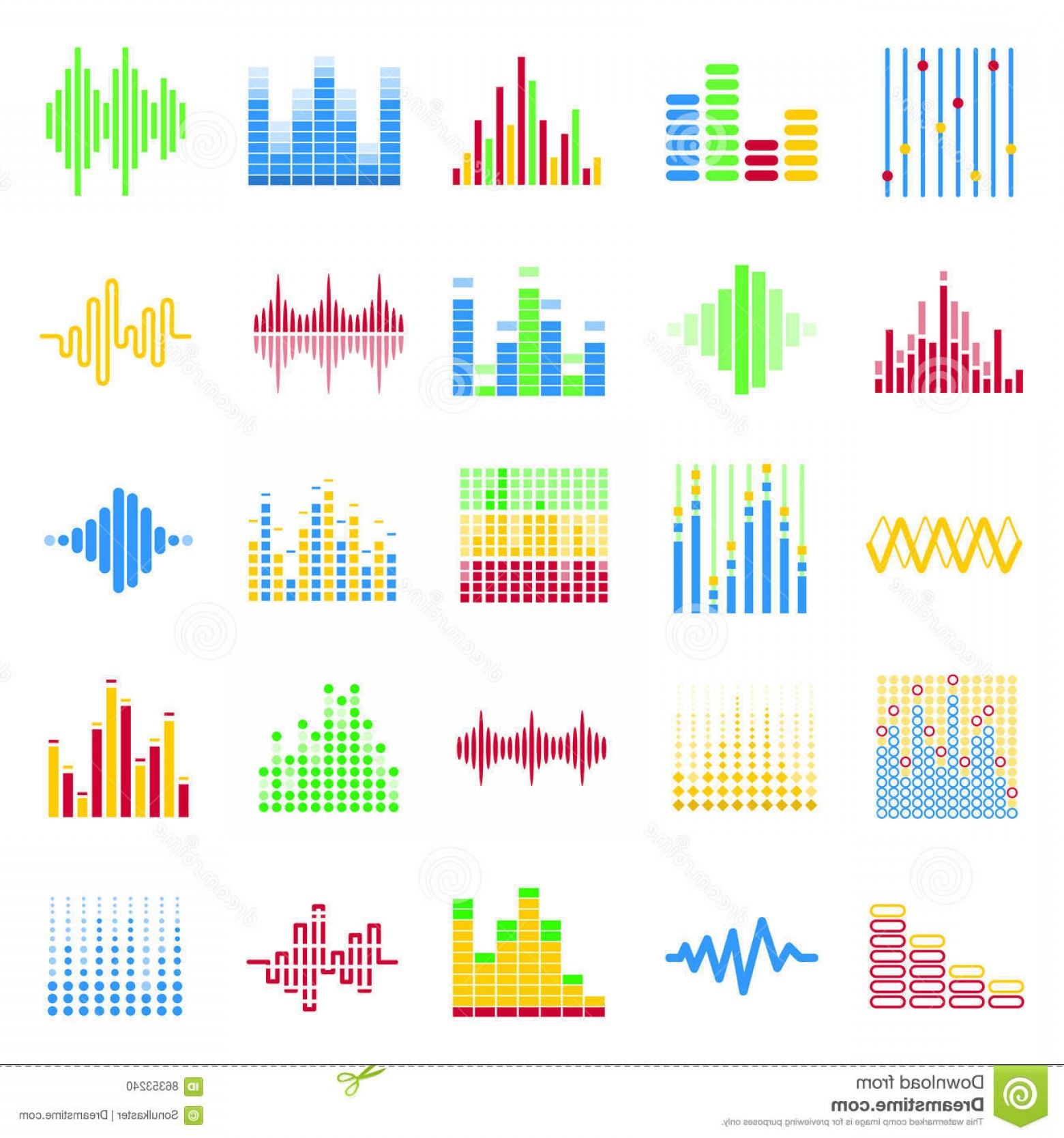 Equalizer Vector Icons: Stock Photo Equalizer Color Graphic Theme Vector Icons Set Image