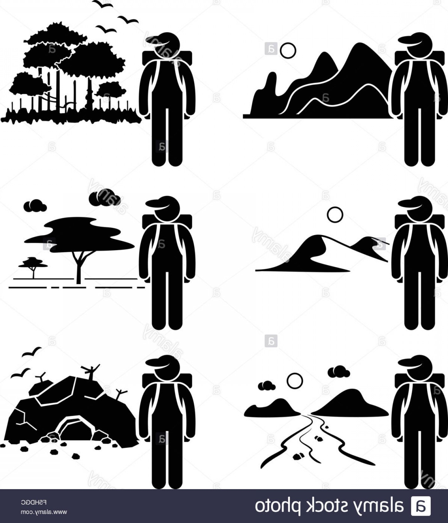 River Silhouette Vector Art: Stock Photo Explorer Adventure At Mountain Rainforest Desert Savanna River Cave