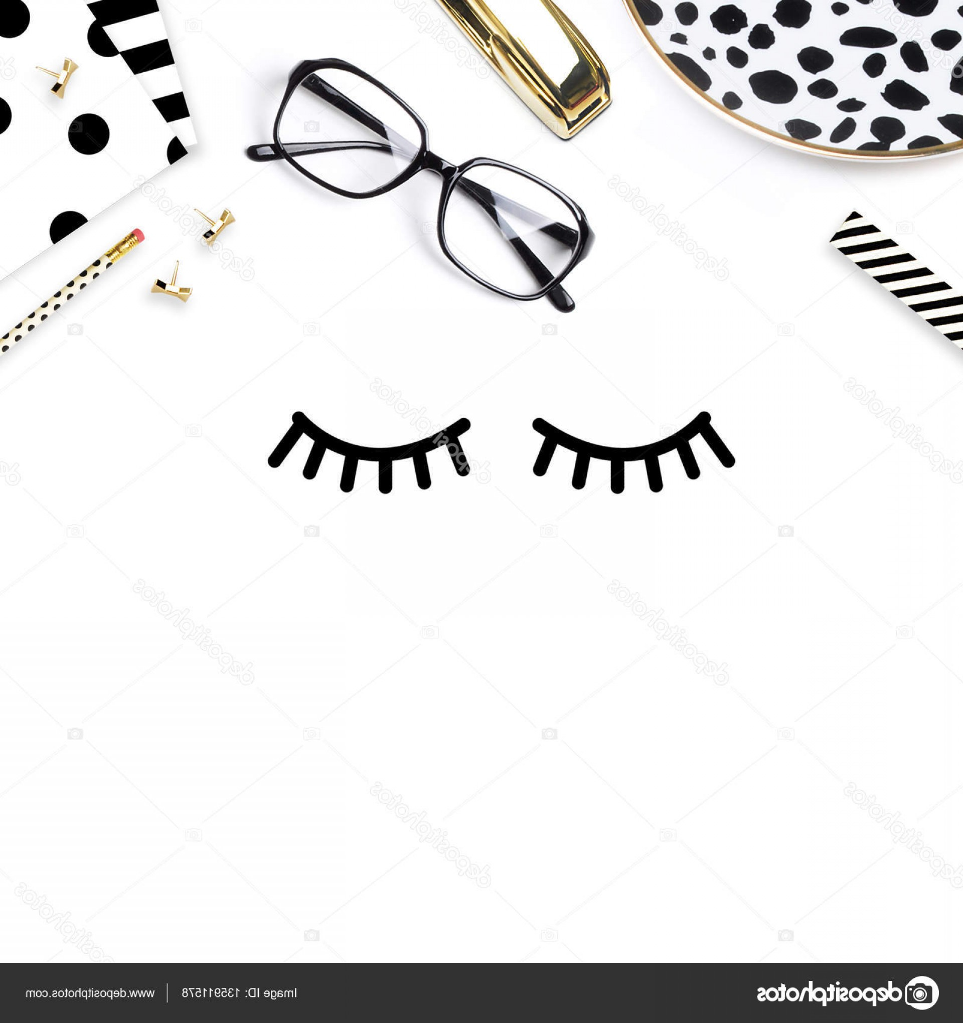 Top Eye Lashes Vector: Stock Photo Feminine Desk Woman Workspace Pretty