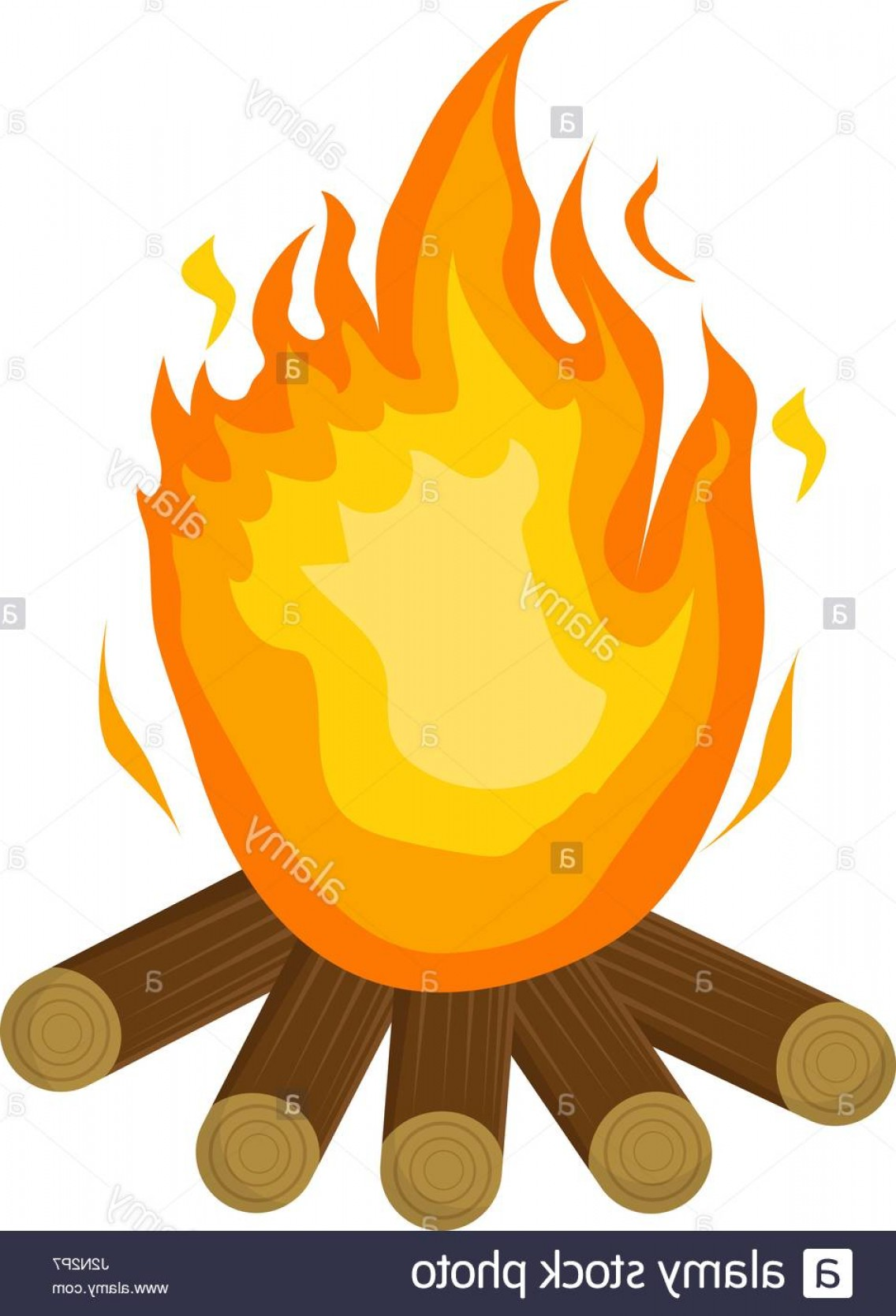 Fire Clip Art Vector: Stock Photo Festa Junina Fire Icon Flat Cartoon Style Bonfire Isolated On White