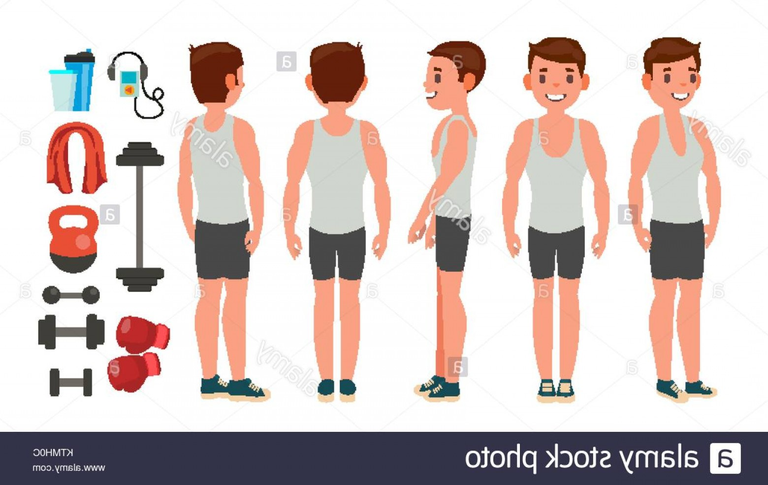Man Vector Exercise: Stock Photo Fitness Man Vector Different Poses Lifestyle Design Exercise And Athlete